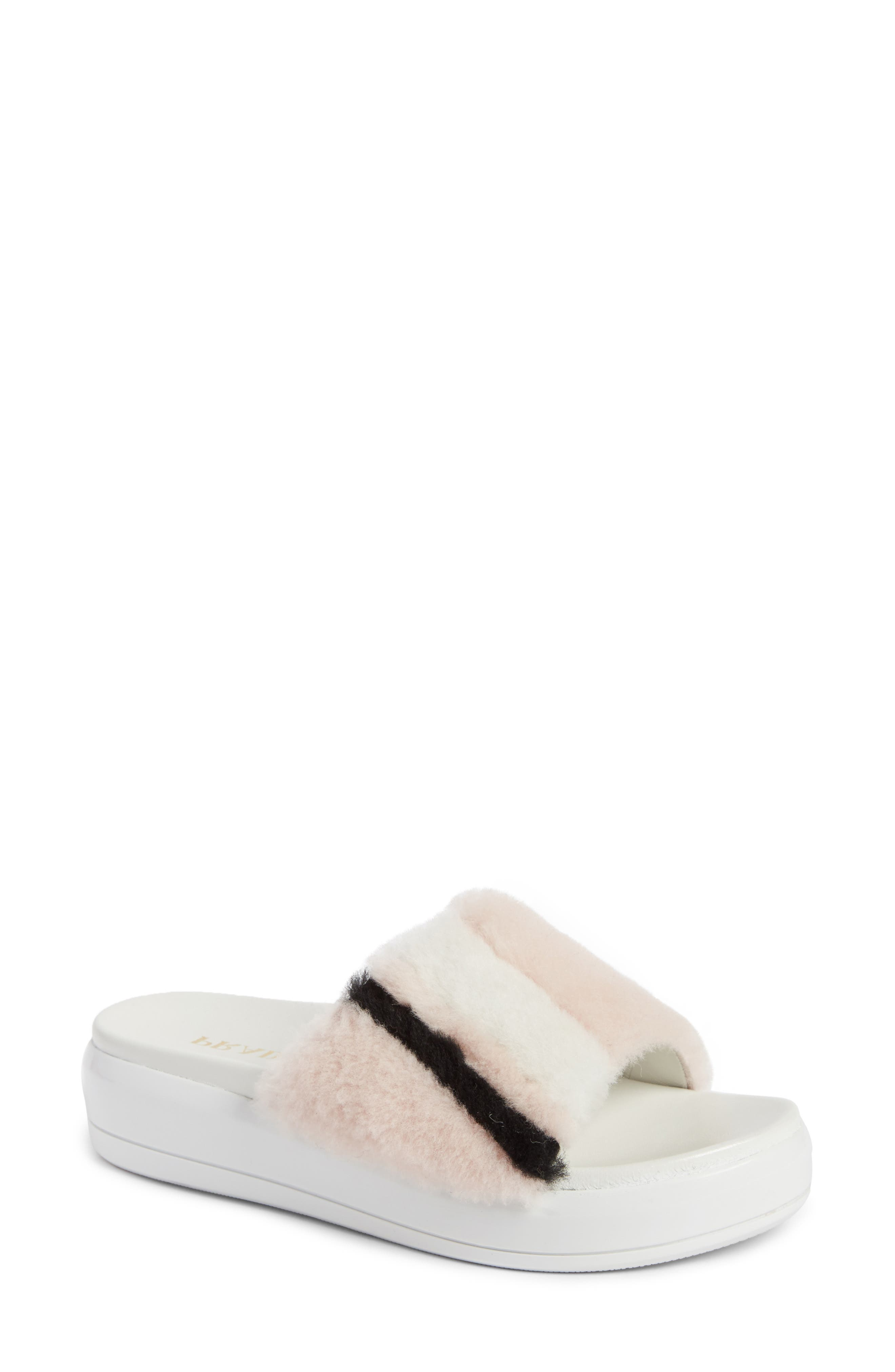 Prada Genuine Shearling Slide Sandal (Women)