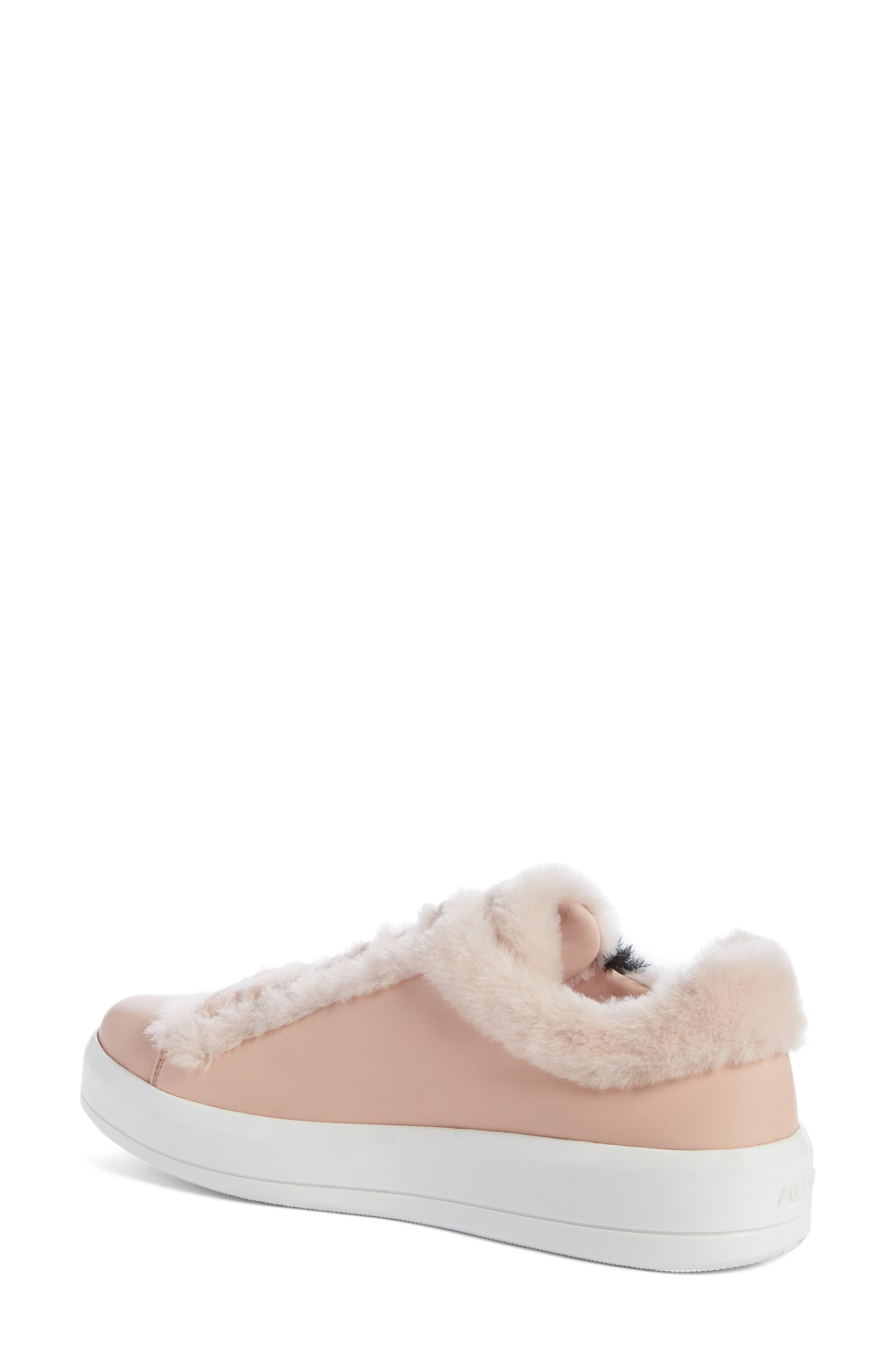 Genuine Shearling Trim Platform Sneaker,                             Alternate thumbnail 2, color,                             Pink Leather