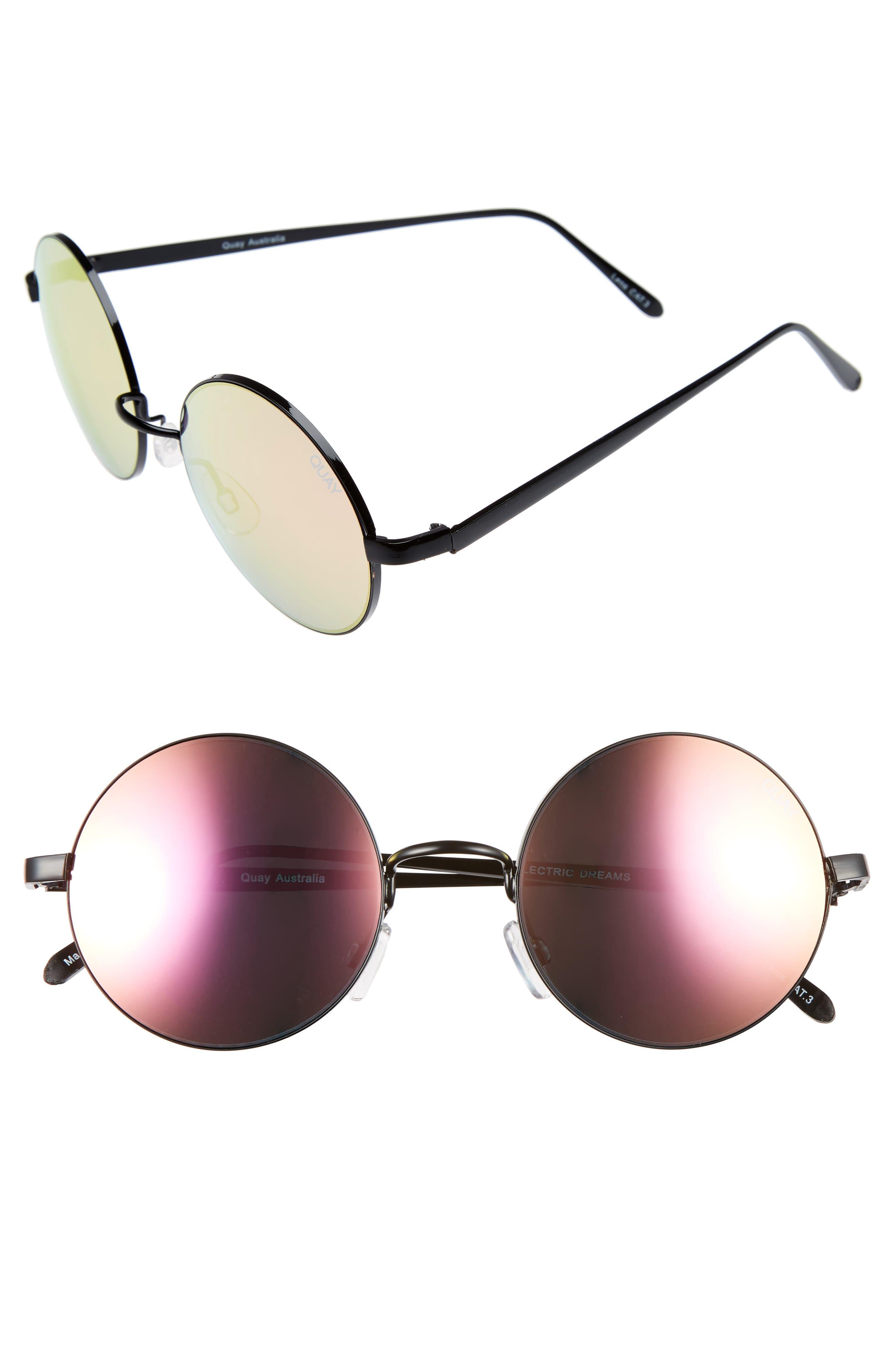 Quay Australia 'Electric Dreams' 52mm Round Sunglasses