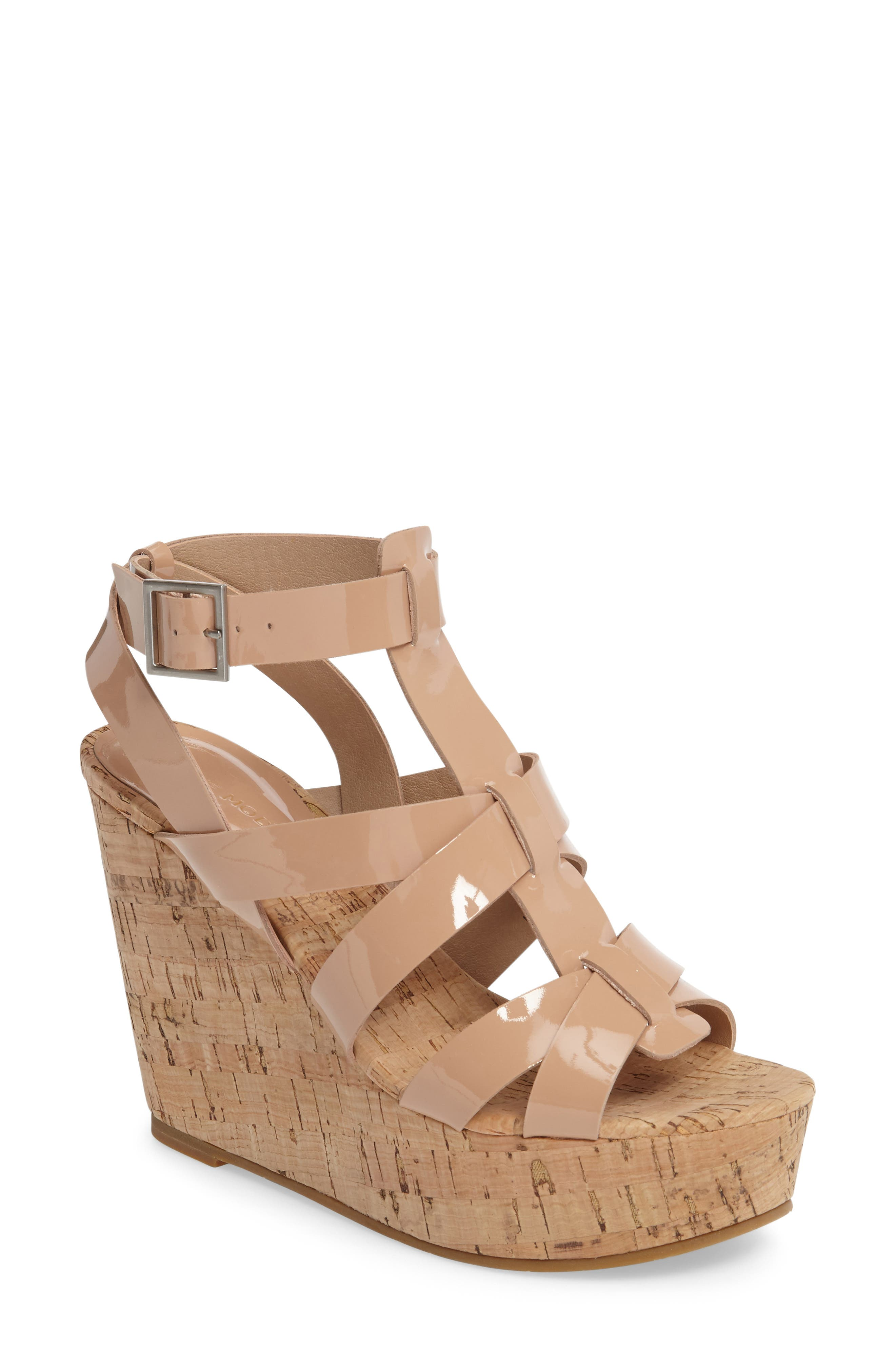 Rayjay Wedge Sandal,                         Main,                         color, Blush Leather