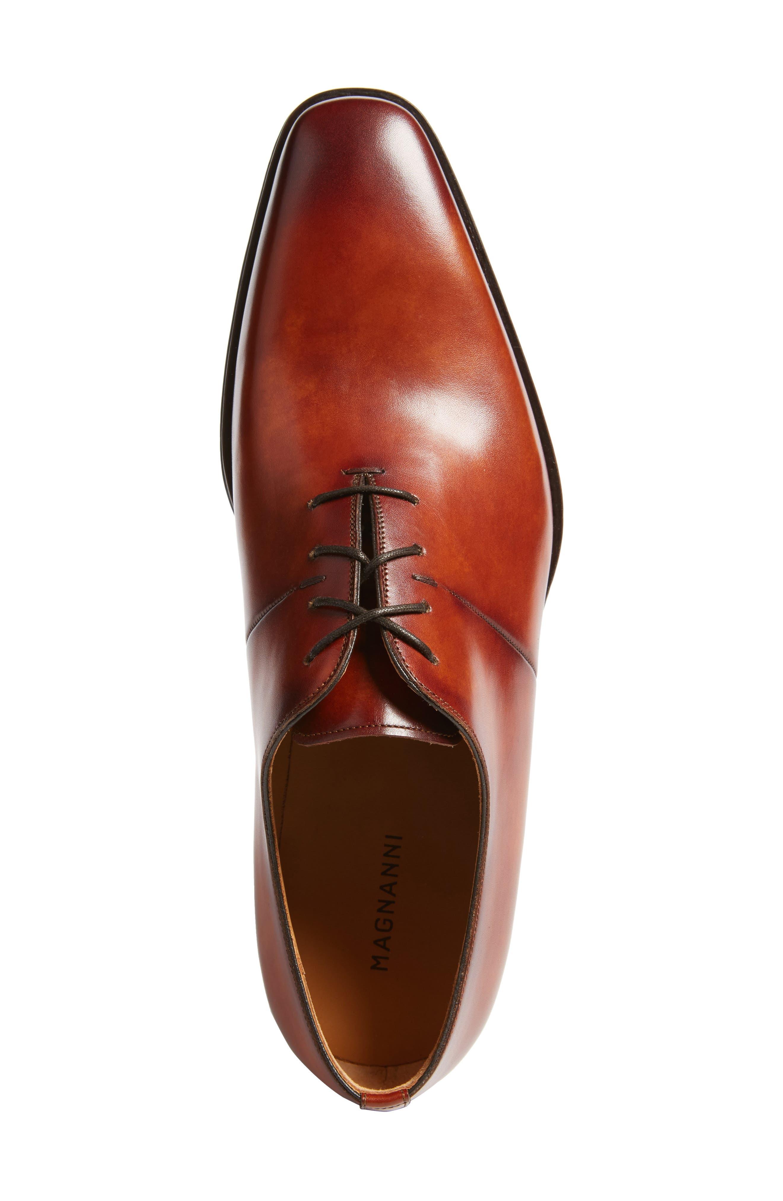 Cornado Plain Toe Oxford,                             Alternate thumbnail 5, color,                             Cognac Leather