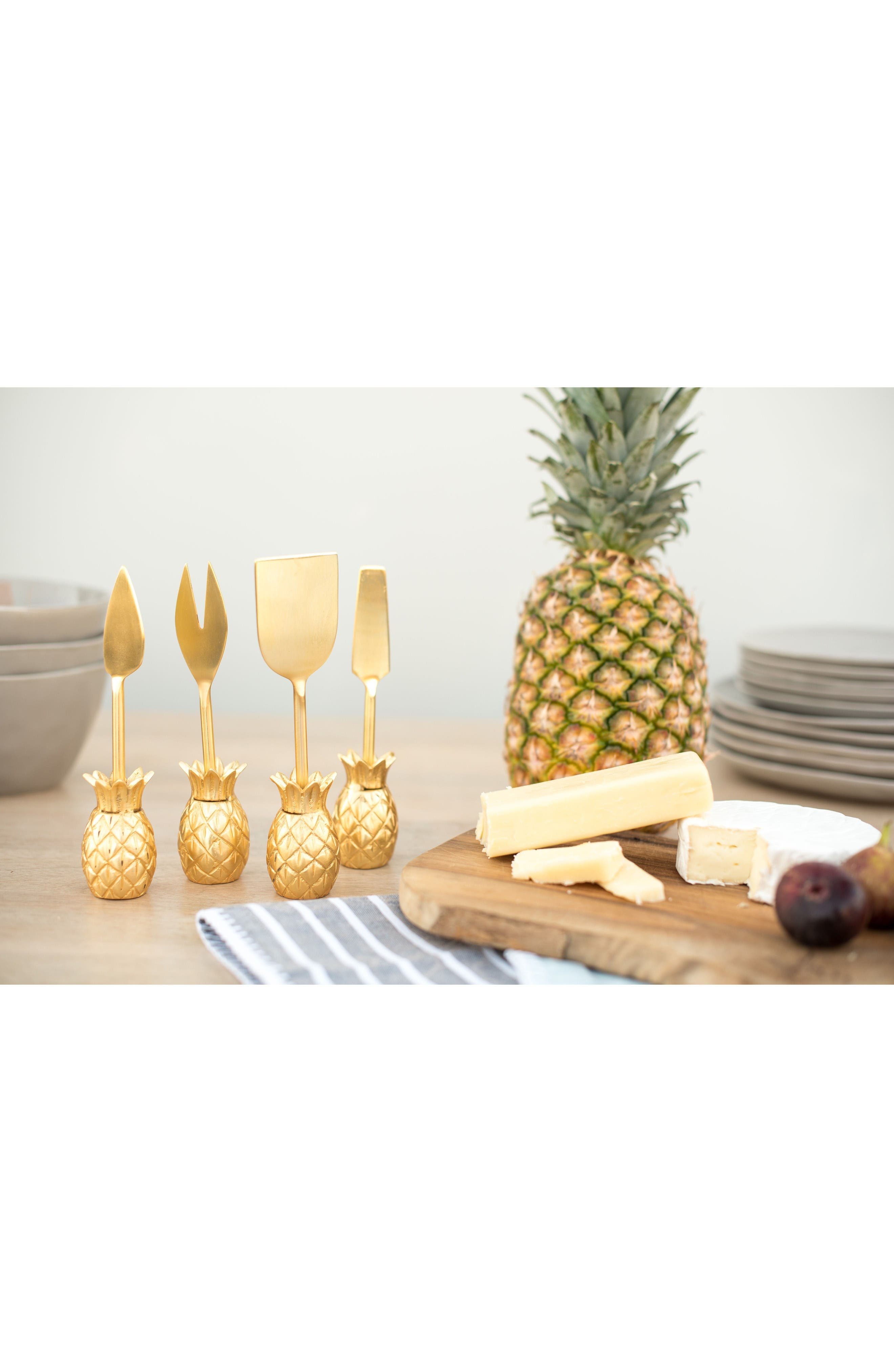 Luau Set of 4 Cheese Knives,                             Alternate thumbnail 2, color,                             Gold