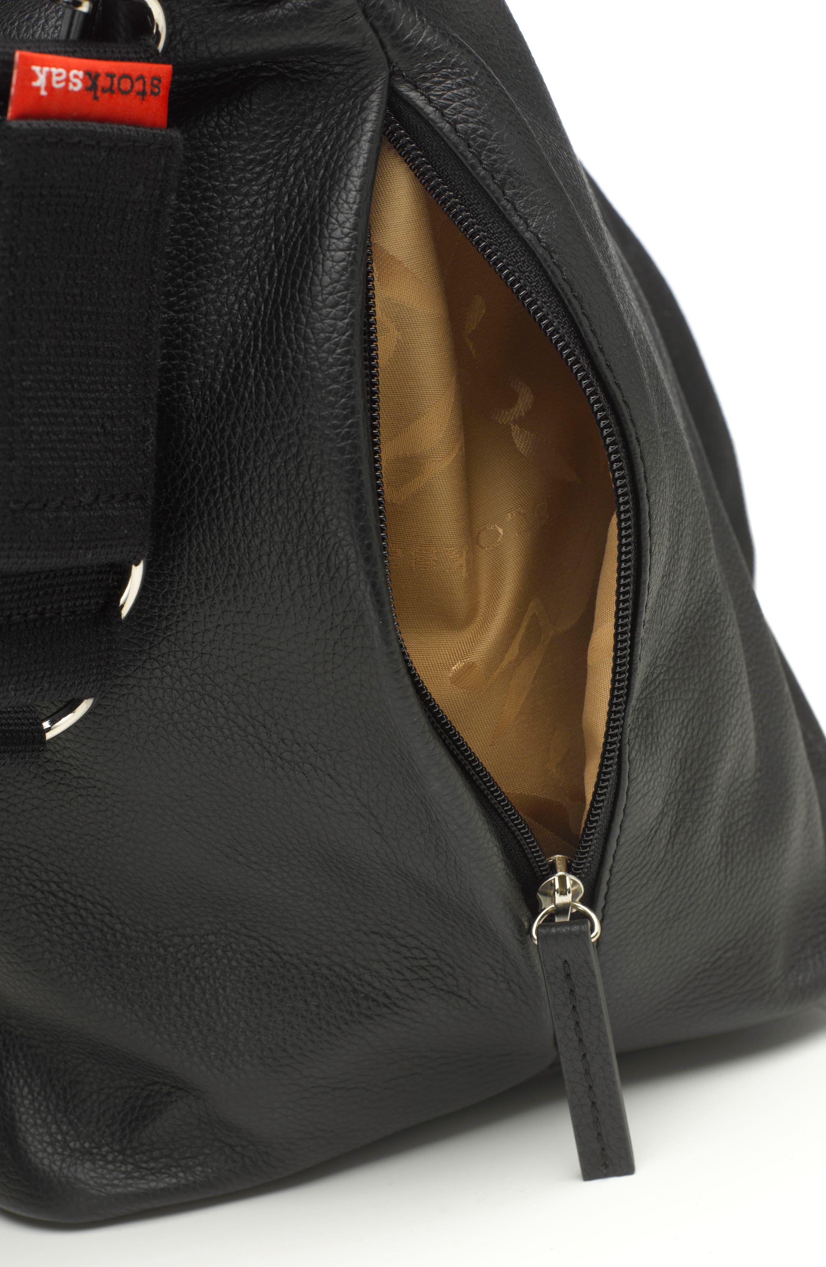 NOA Leather Diaper Bag,                             Alternate thumbnail 5, color,                             Black