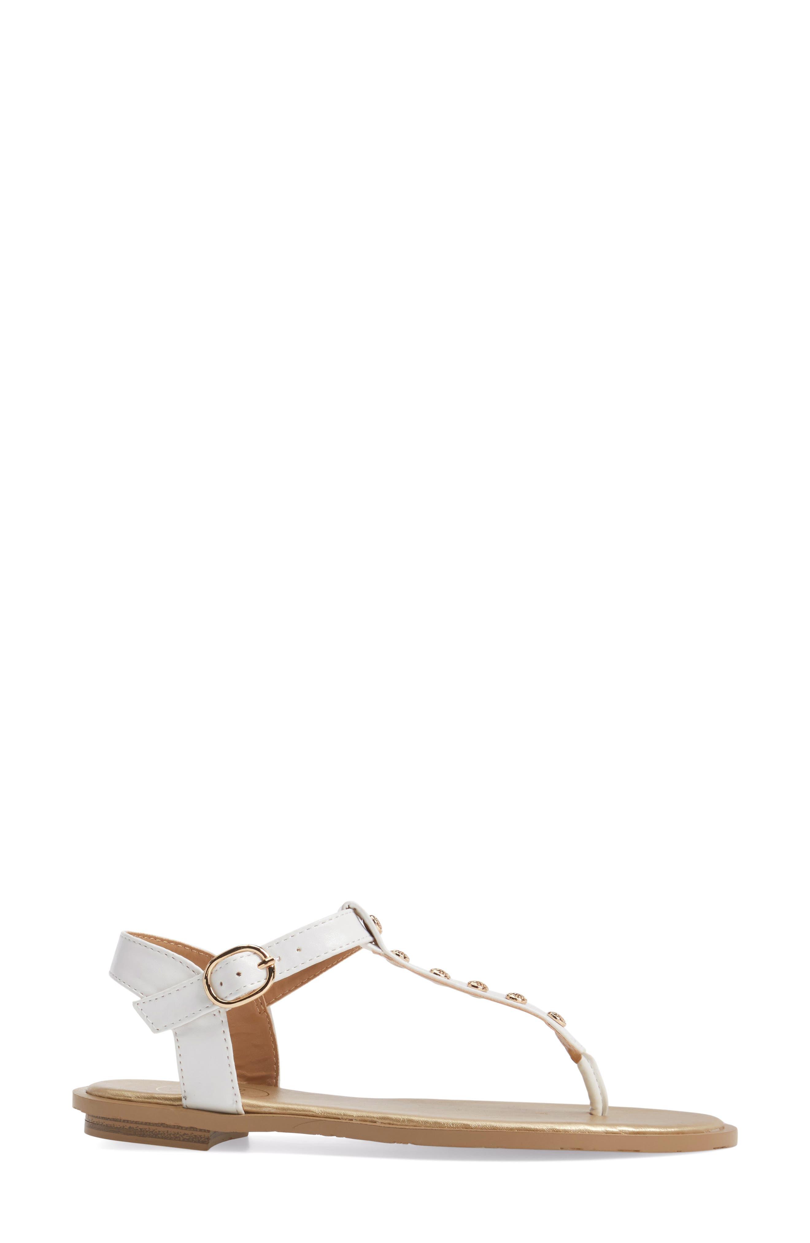 Kamri T-Strap Sandal,                             Alternate thumbnail 3, color,                             White Leather