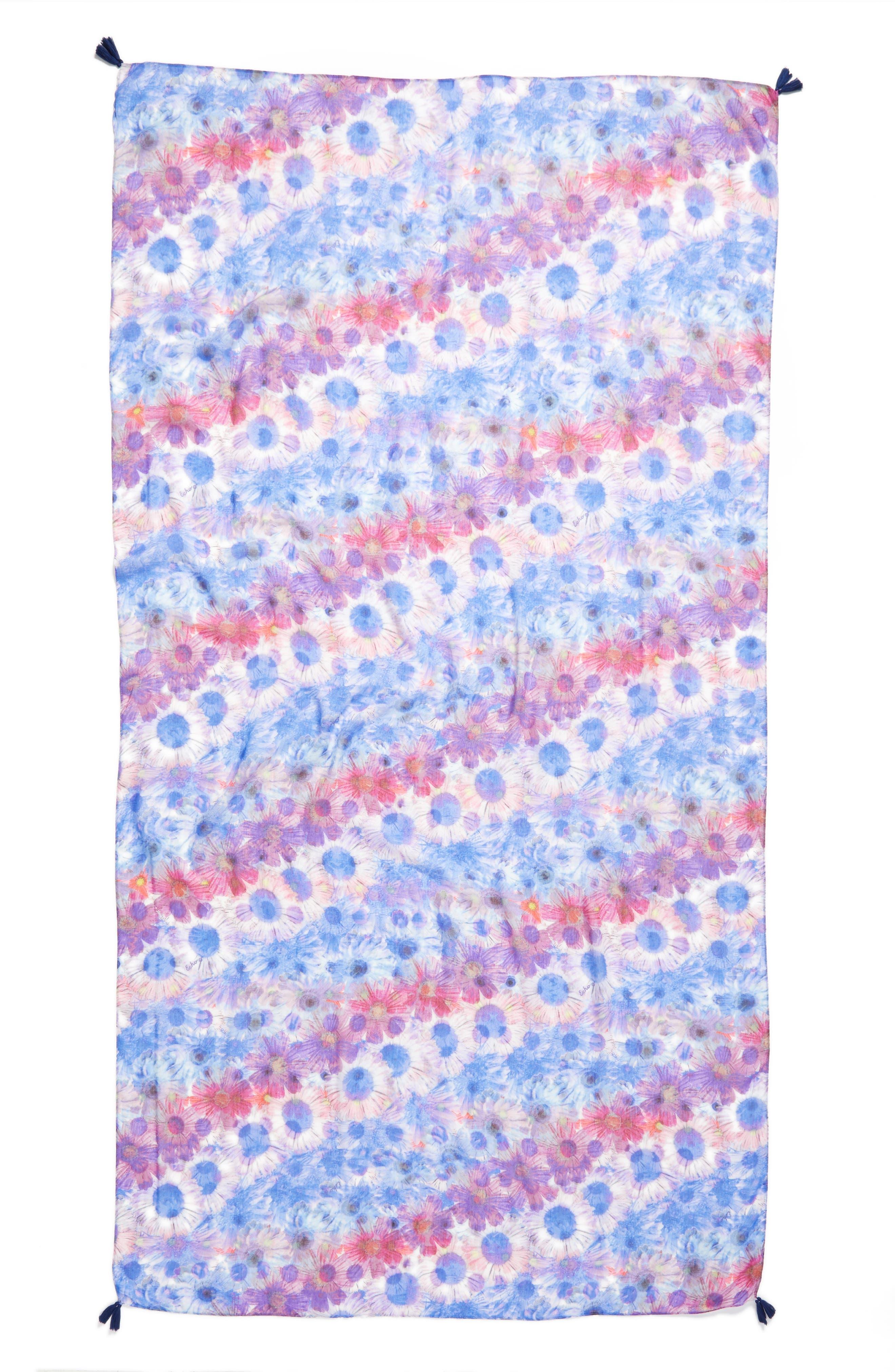Dancing Daisies Tassel Scarf,                             Alternate thumbnail 2, color,                             Brilliant Blue