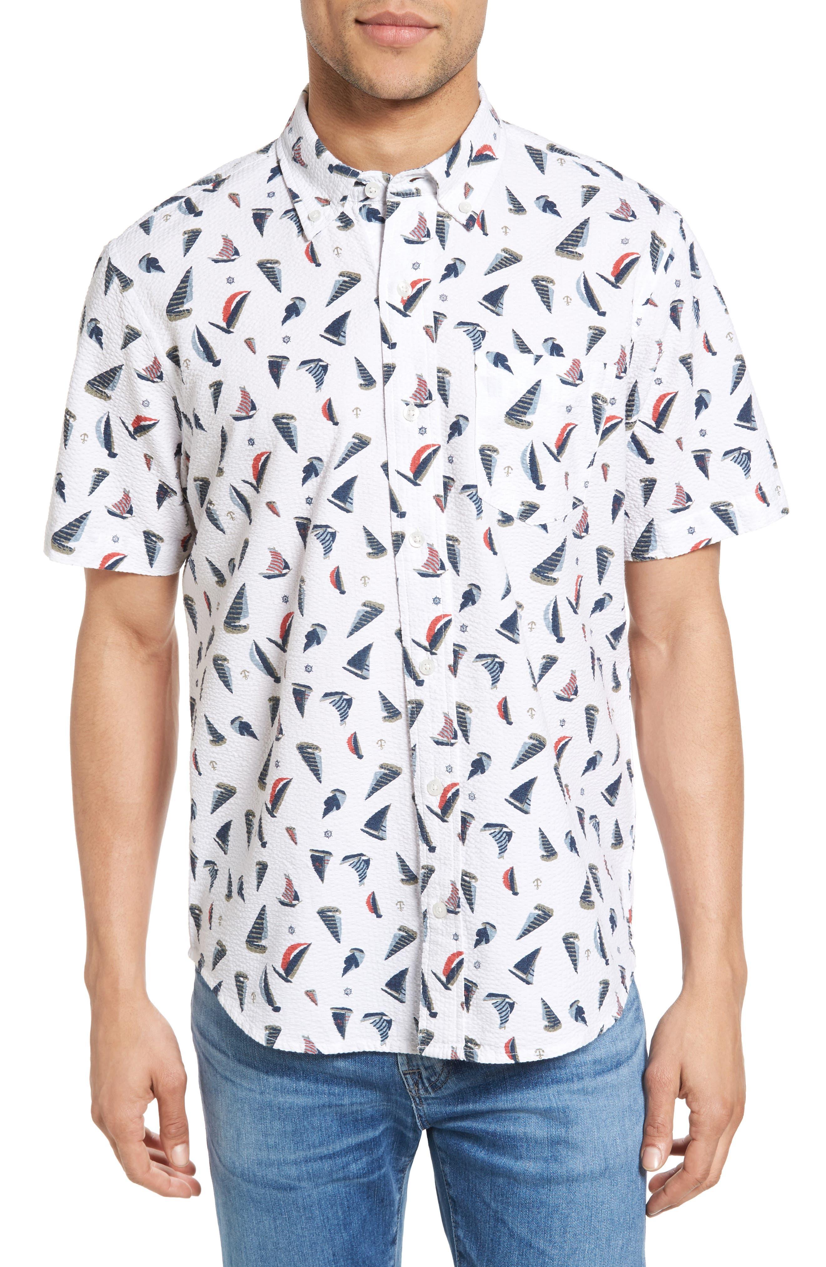 Sailboat Seersucker Sport Shirt,                         Main,                         color, Sailboat Seersucker