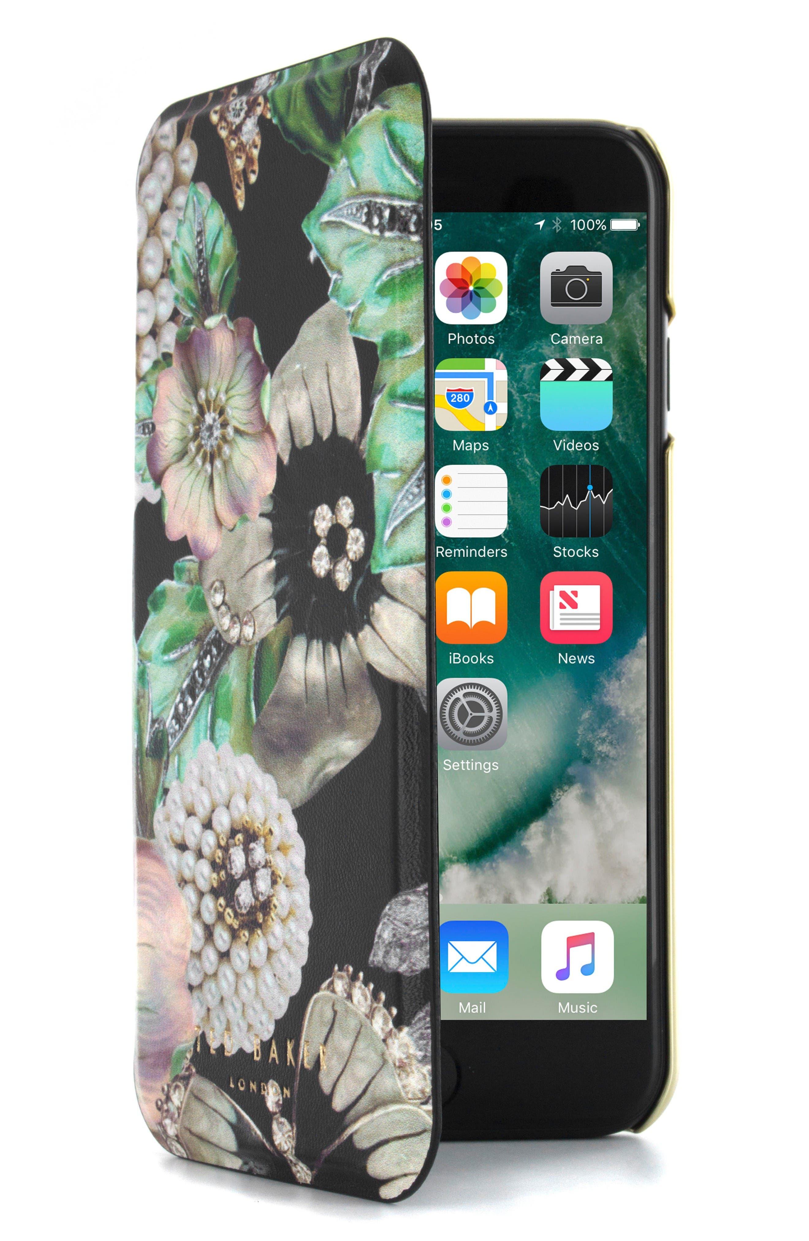 Clarna iPhone 6/6s/7/8 & 6/6s/7/8 Plus Mirror Folio Case,                         Main,                         color, Multi