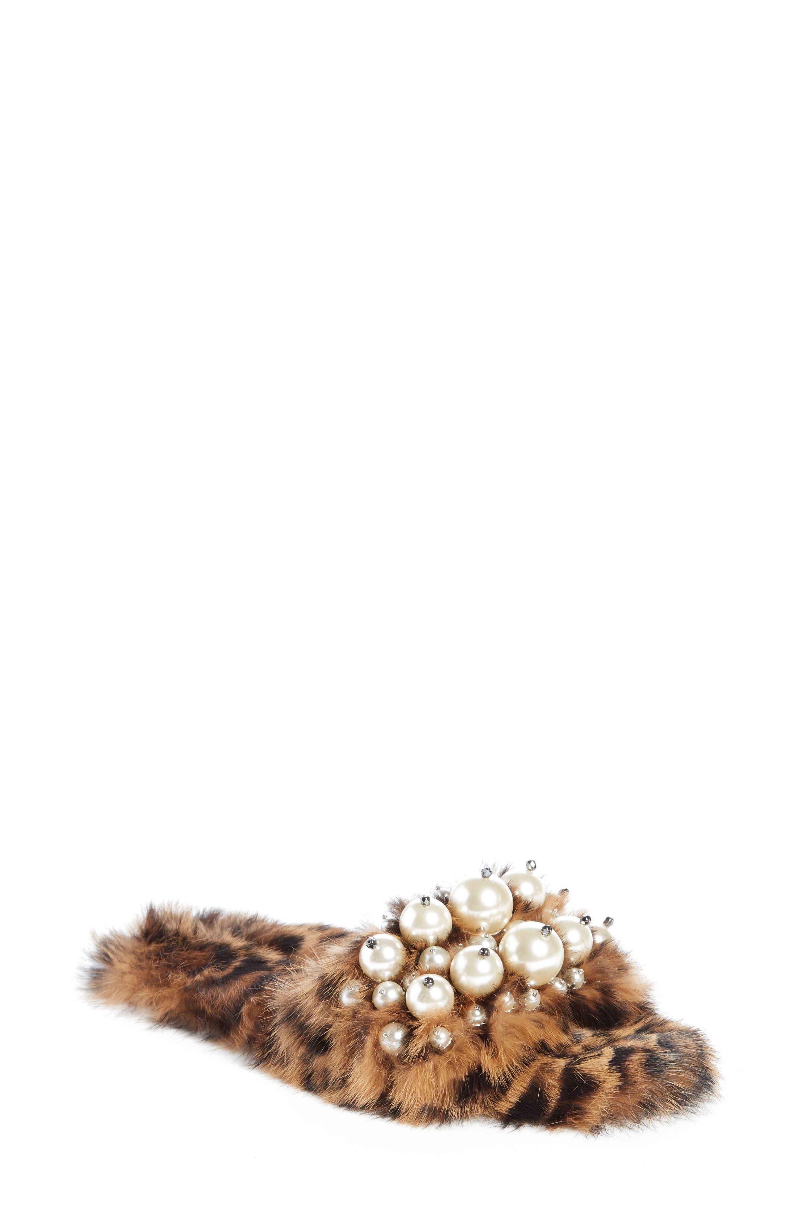 Genuine Rabbit Fur Slide Sandal,                             Main thumbnail 1, color,                             Brown