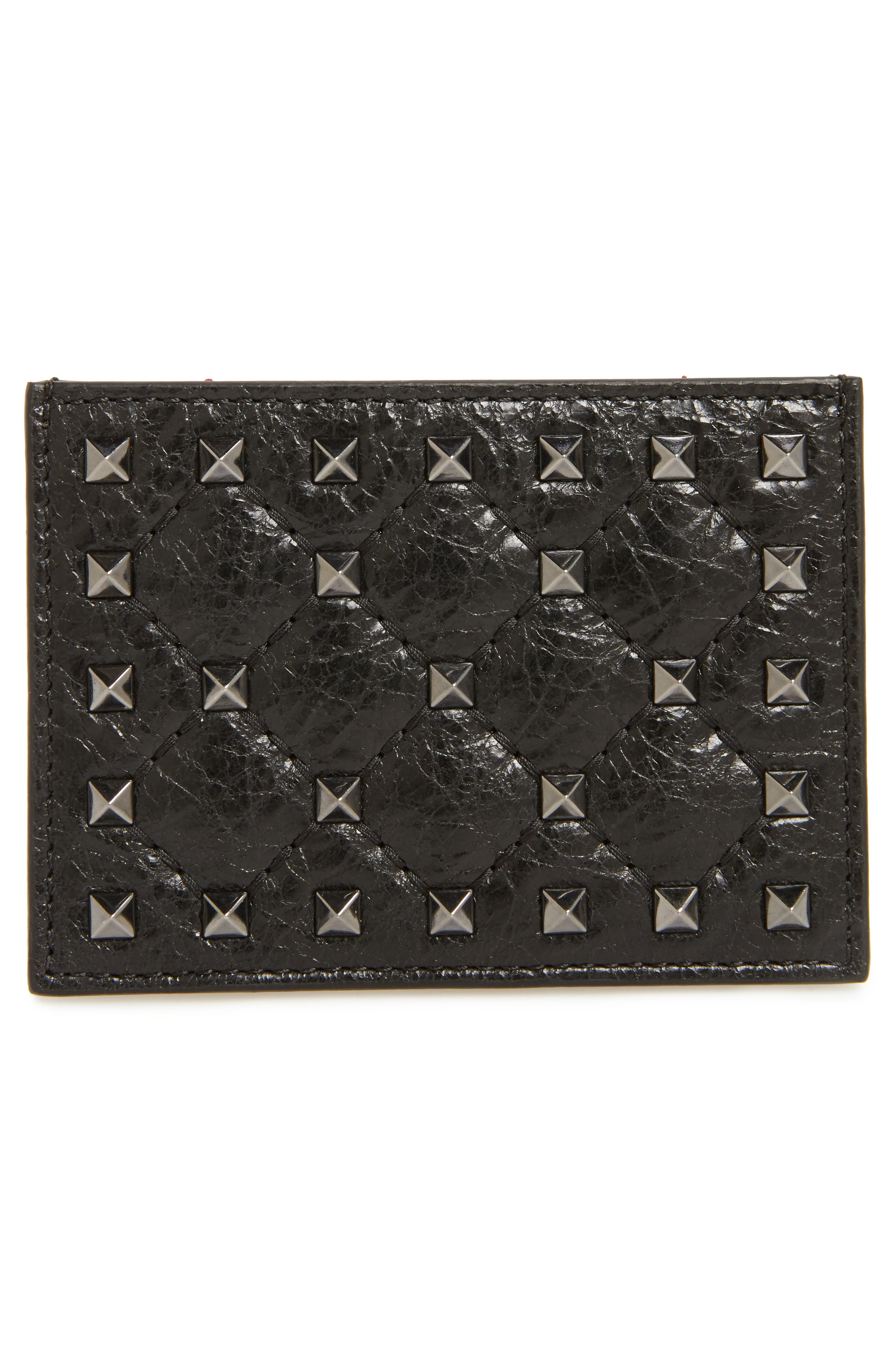 Rockstud Leather Card Case,                         Main,                         color, Black