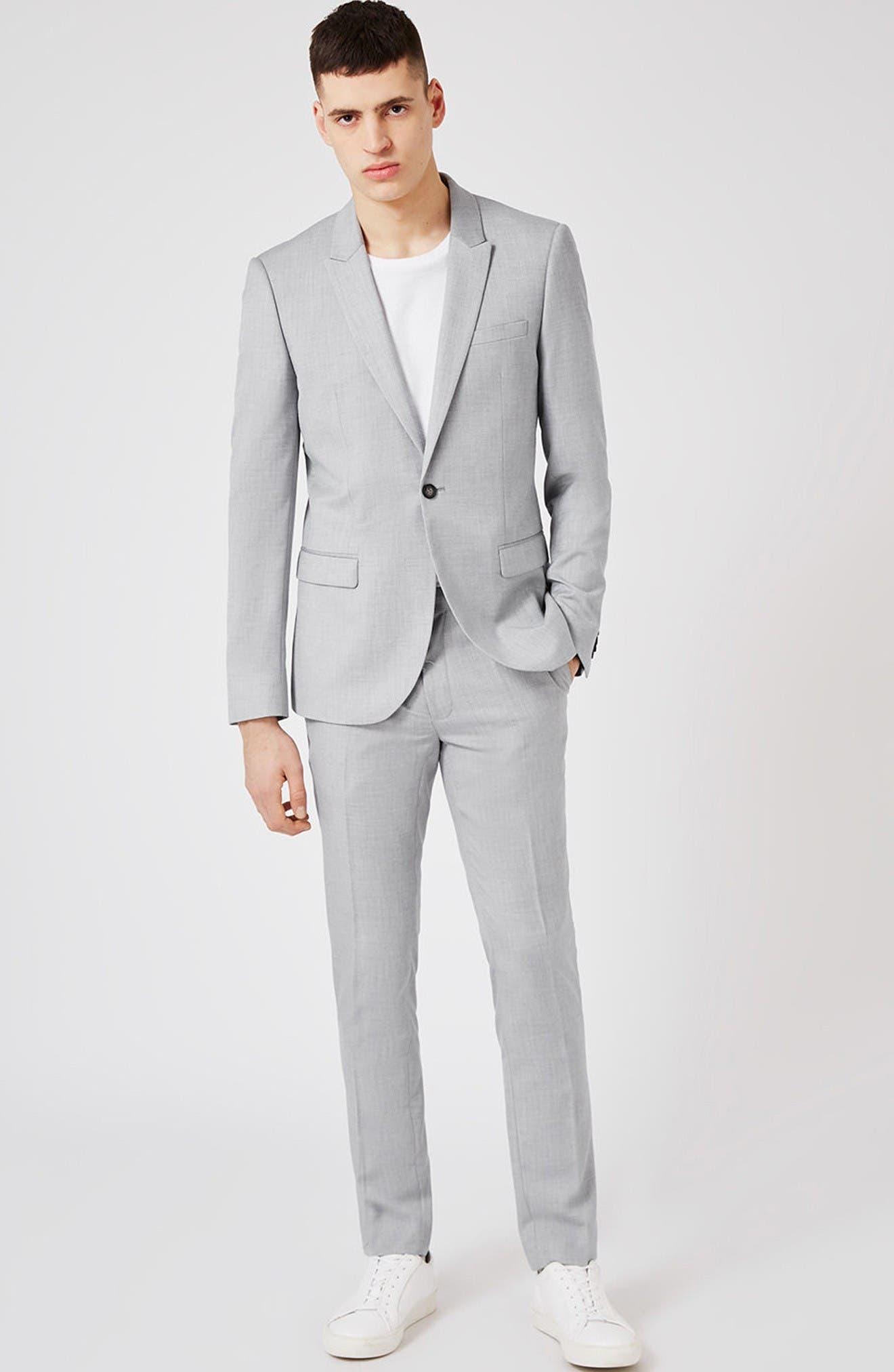 Skinny Fit Crosshatch Suit Jacket,                             Alternate thumbnail 2, color,                             Grey