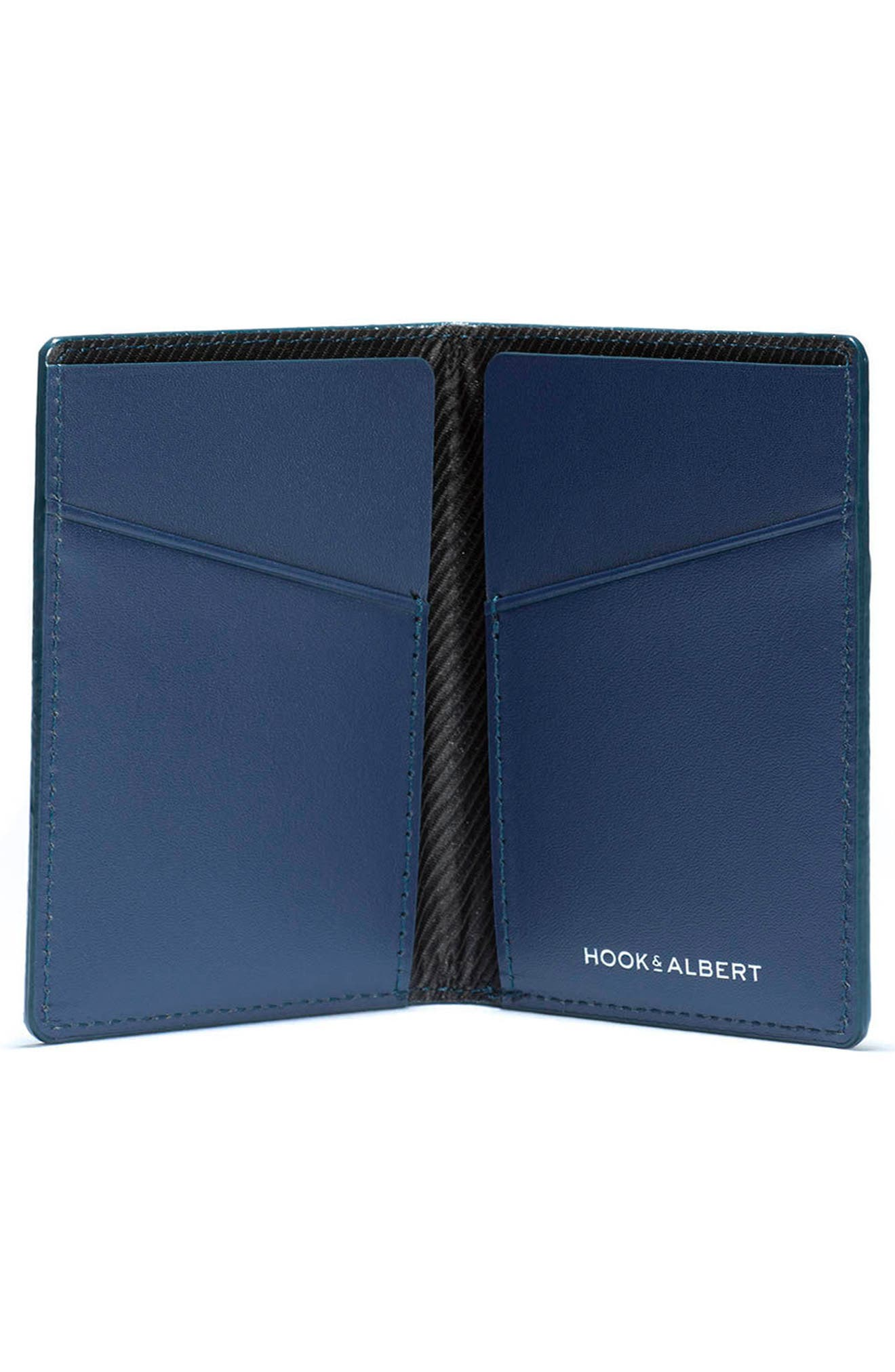 Vertical Leather Wallet,                             Alternate thumbnail 2, color,                             Navy