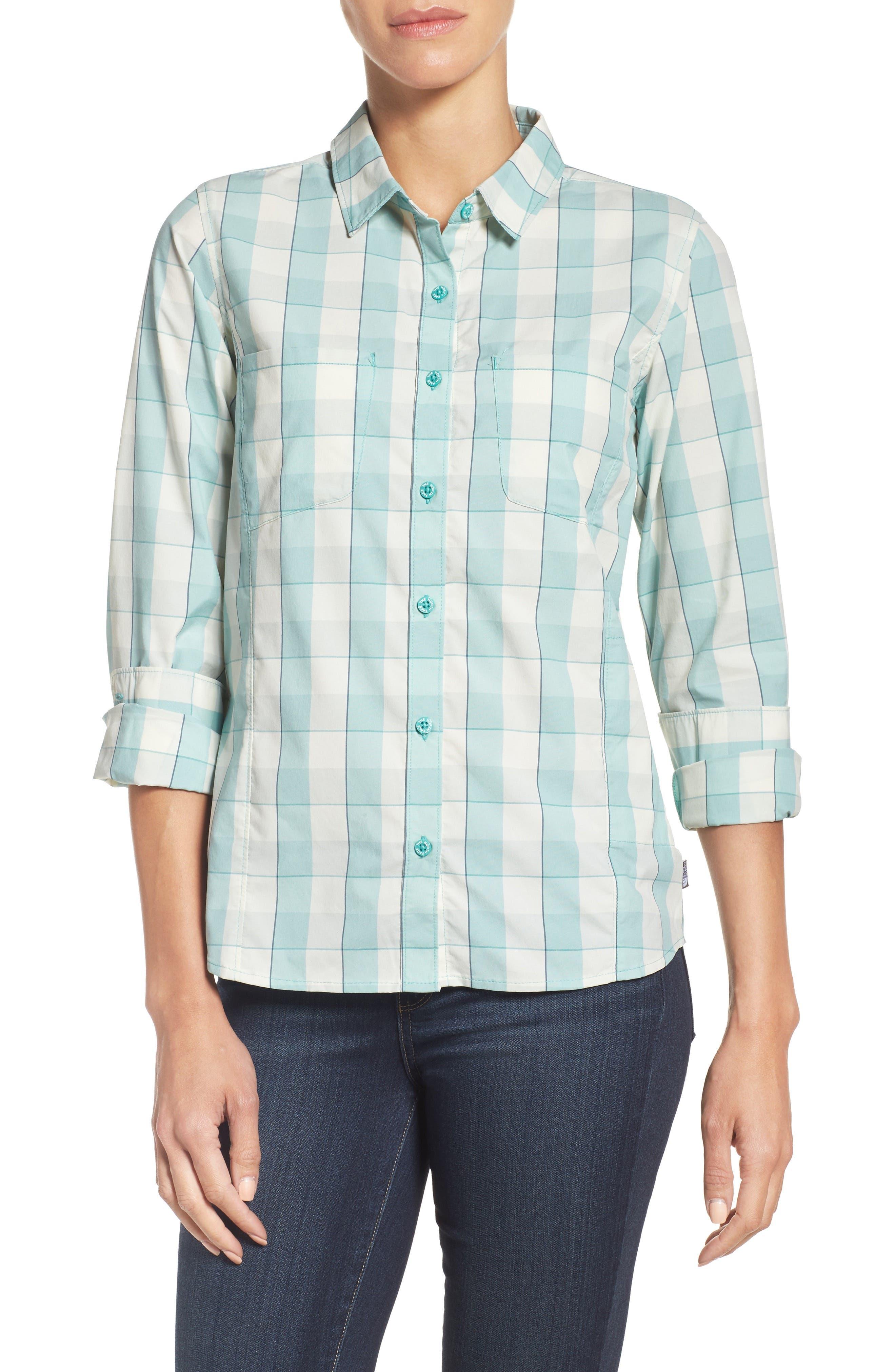 Sunblocker Twill Shirt,                         Main,                         color, Agate Green Plaid