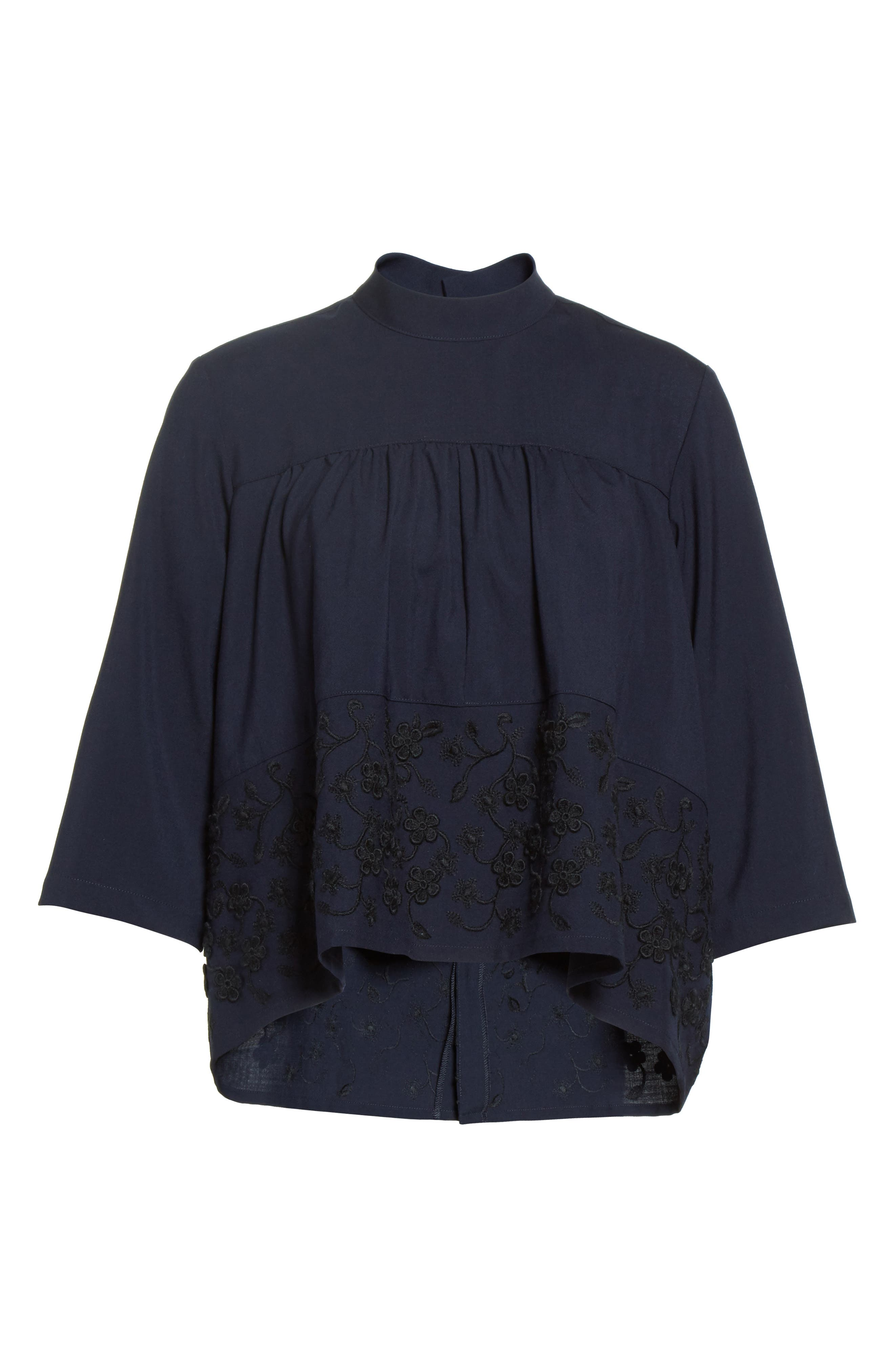 Floral Embroidered Wool Blouse,                             Alternate thumbnail 4, color,                             Navy Black