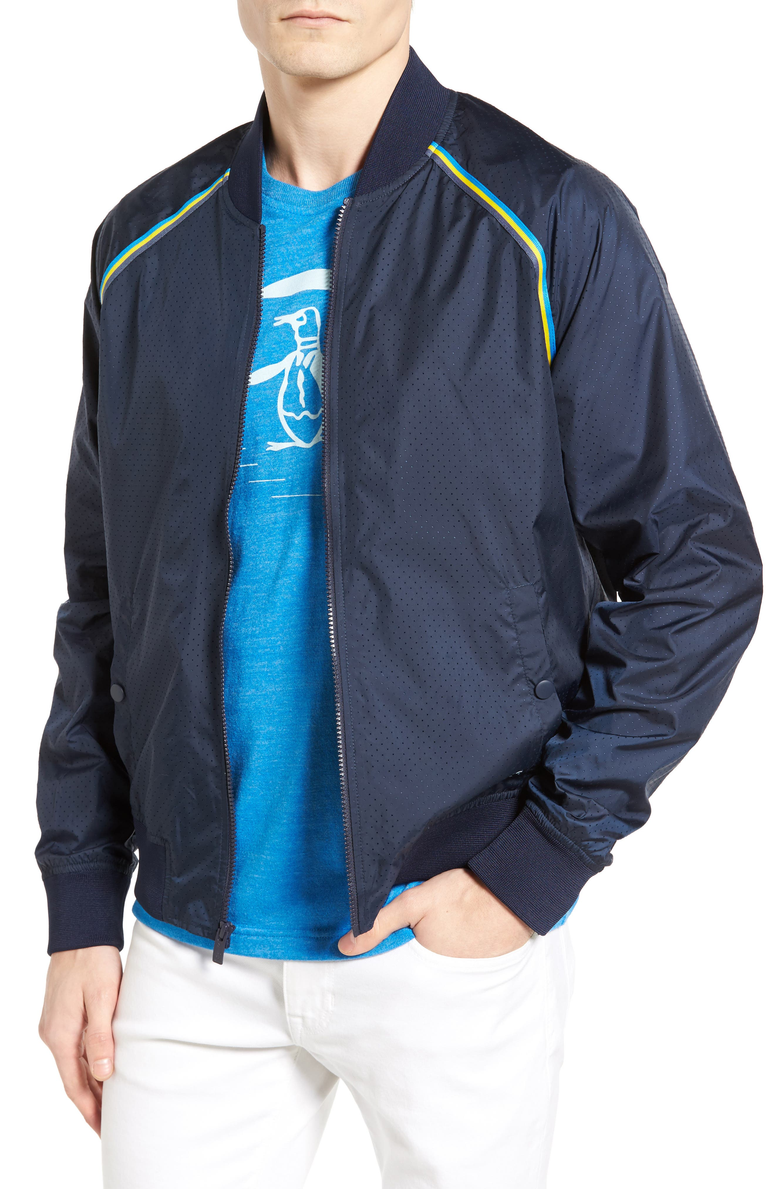 Original Penguin Taped Seam Mesh Bomber Jacket