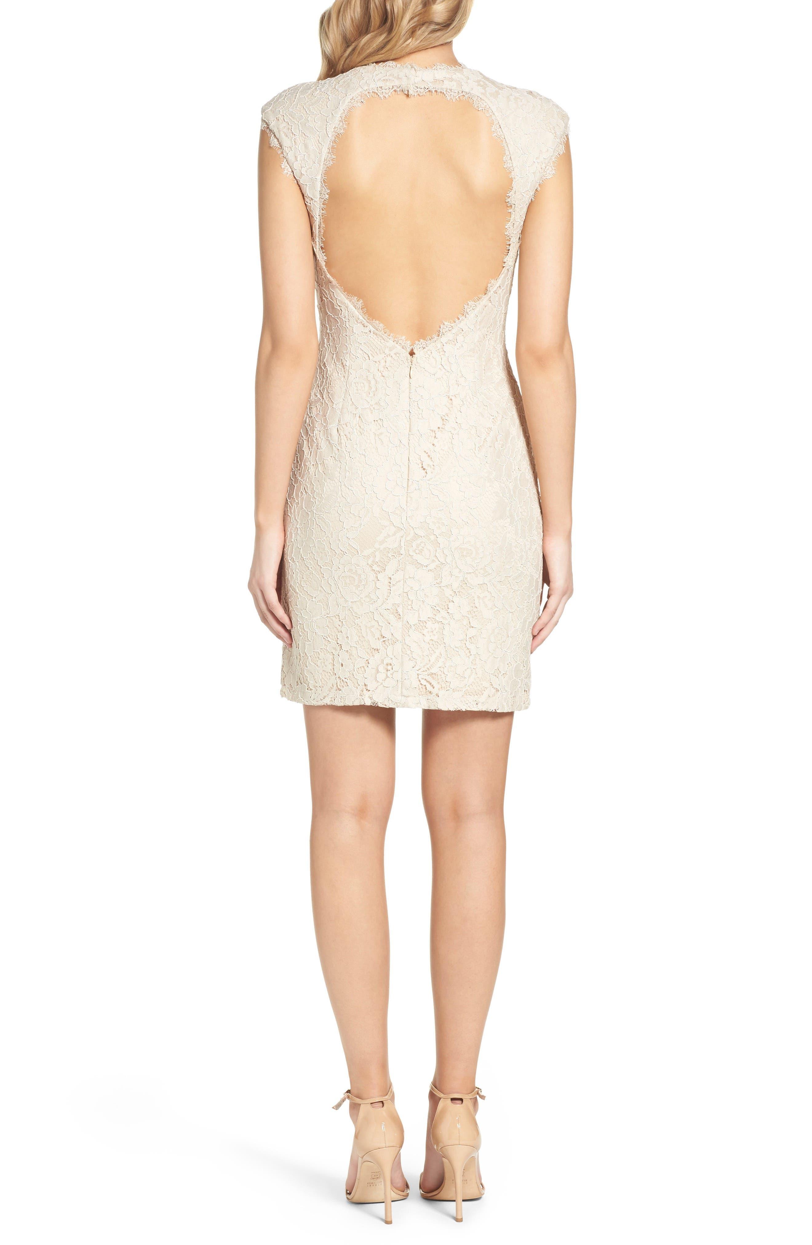 Alternate Image 2  - Aidan by Aidan Mattox Open Back Lace Sheath Dress