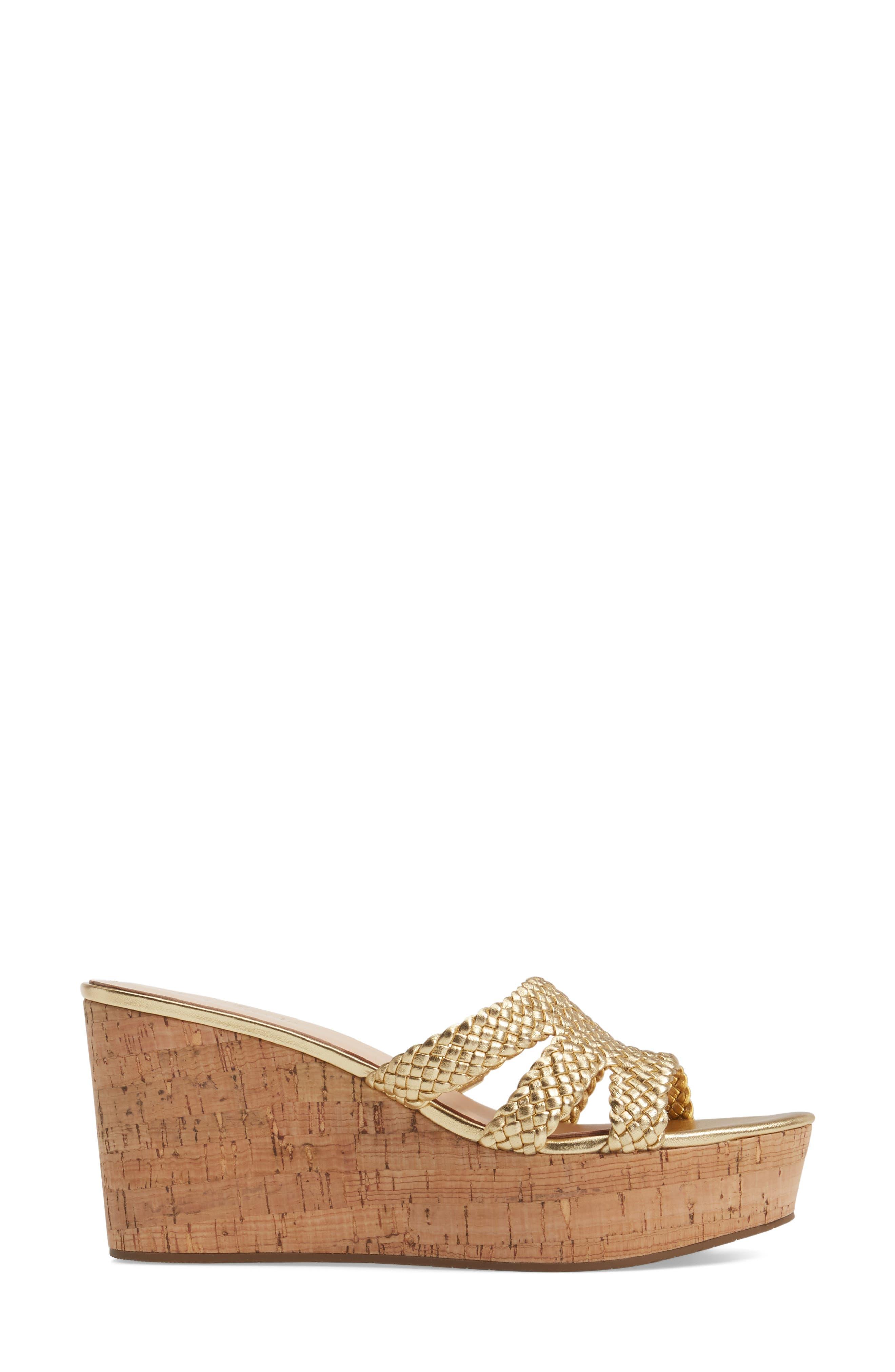 tarvela wedge sandal,                             Alternate thumbnail 3, color,                             Old Gold Woven Metallic Nappa