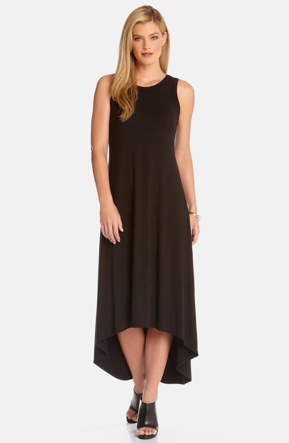 High/Low Sleeveless Maxi Dress,                             Main thumbnail 1, color,                             Black