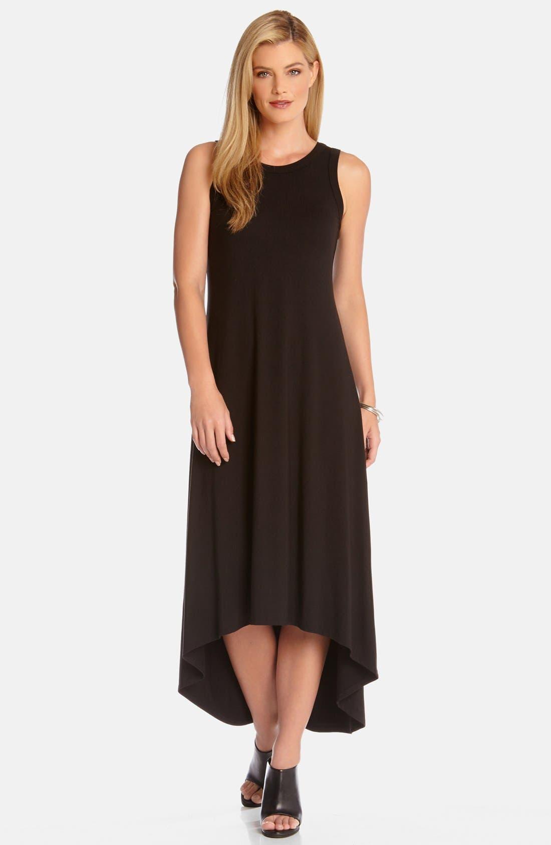 High/Low Sleeveless Maxi Dress,                         Main,                         color, Black