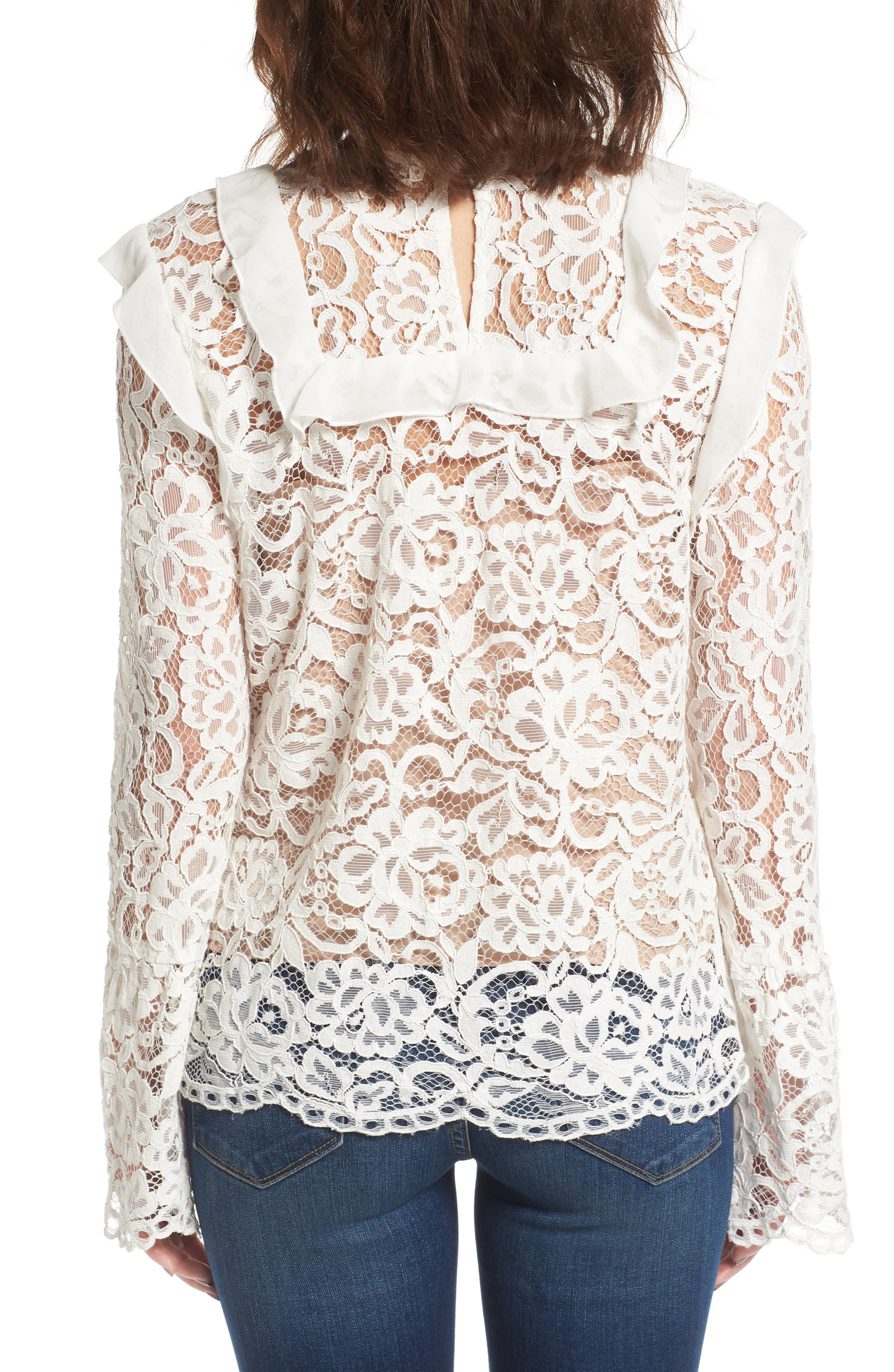 Lydia Lace Top,                             Alternate thumbnail 2, color,                             Ivory Lace