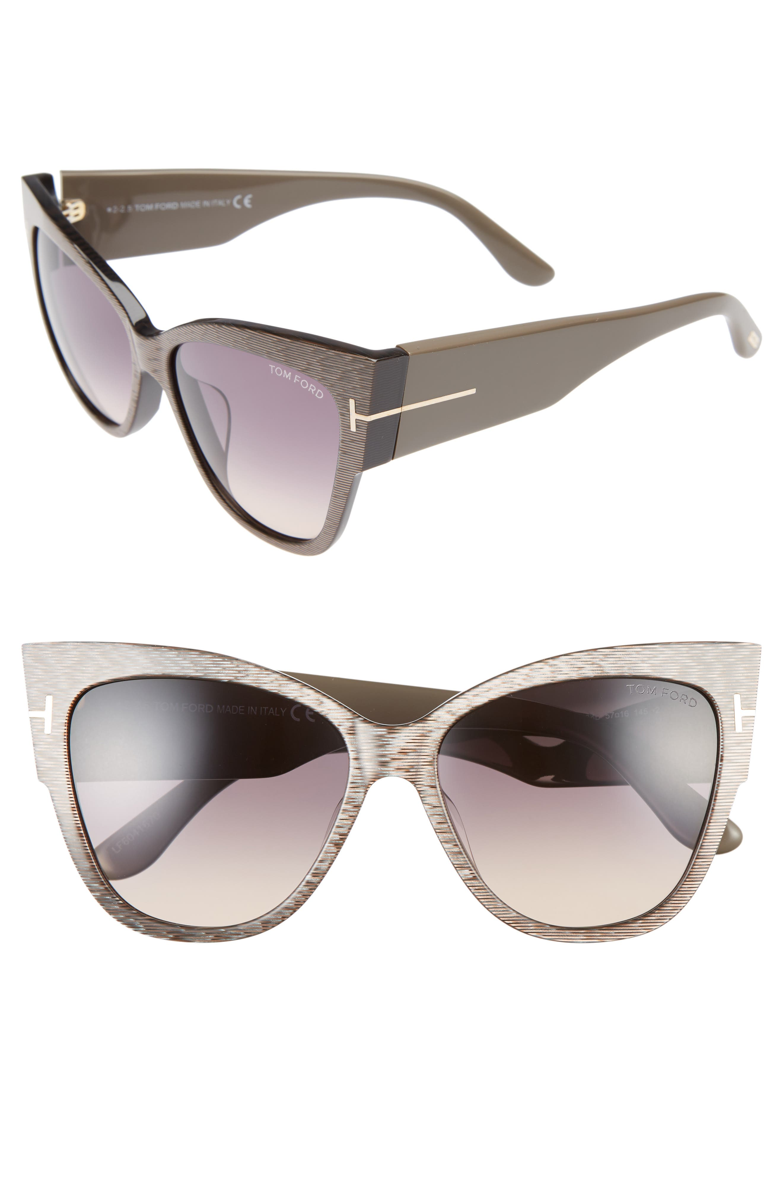Anoushka 57mm Special Fit Butterfly Sunglasses,                         Main,                         color, Dove Grey/ Grey Gradient Sand
