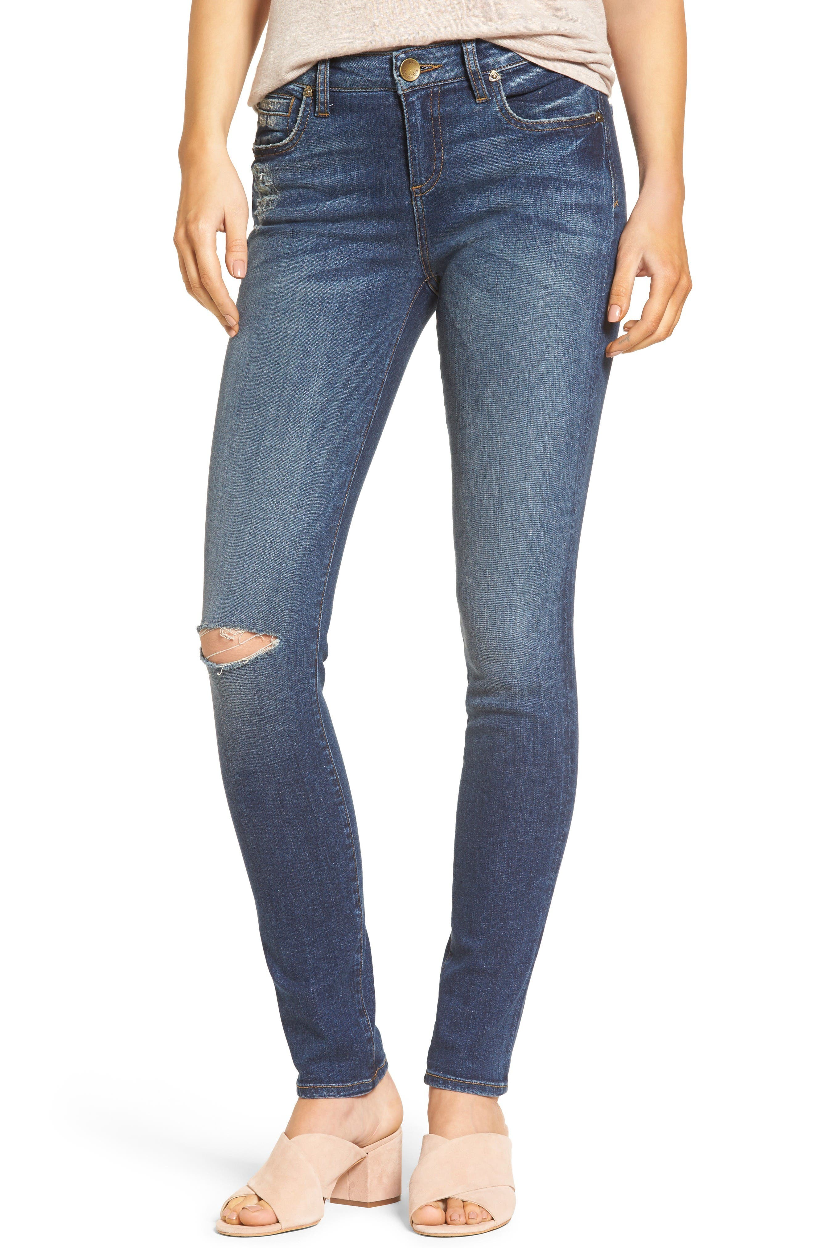 Main Image - KUT from the Kloth Diana Ripped Stretch Skinny Jeans (Valorous) (Regular & Petite)