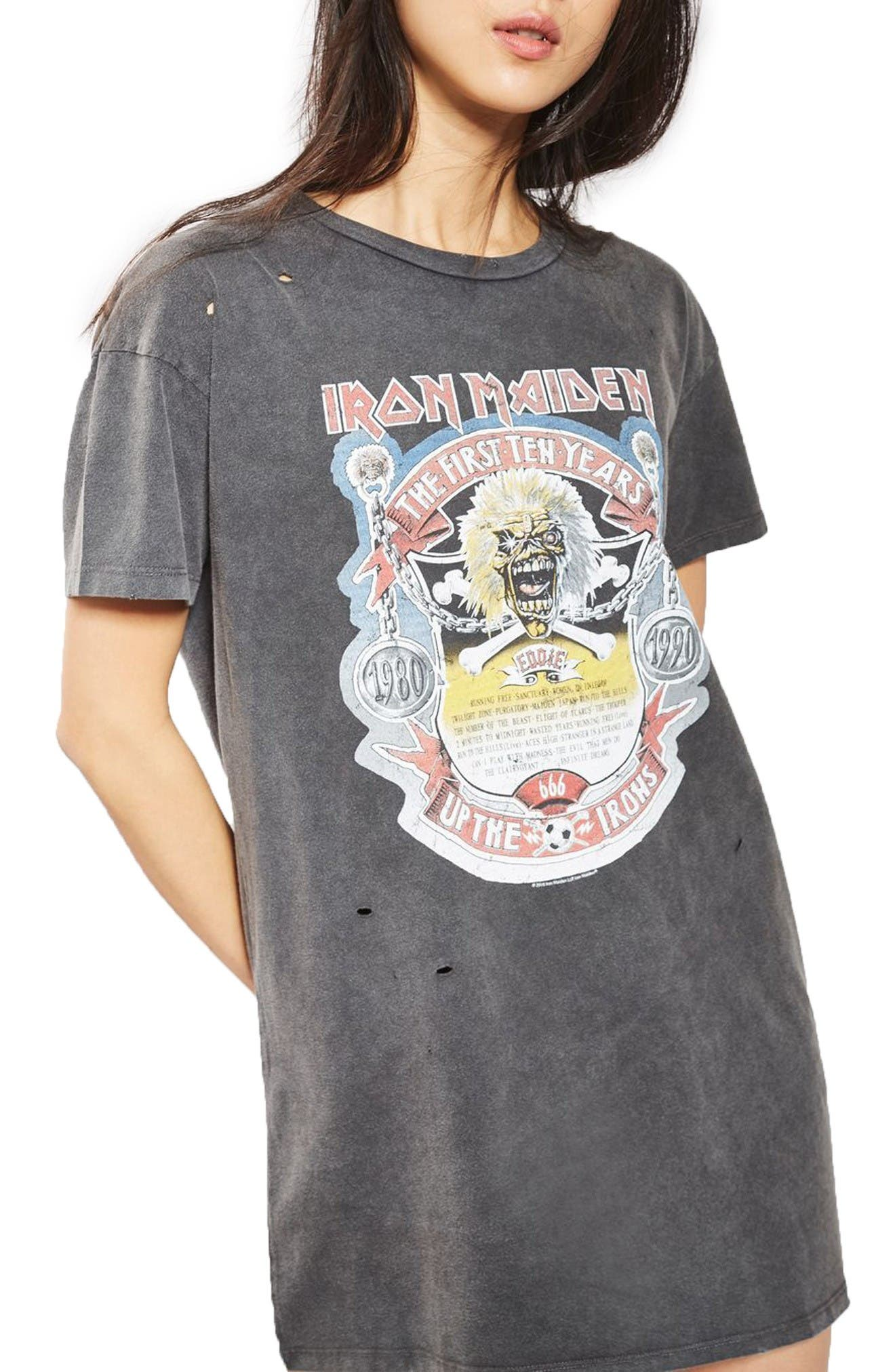 Main Image - Topshop by And Finally Iron Maiden T-Shirt Dress