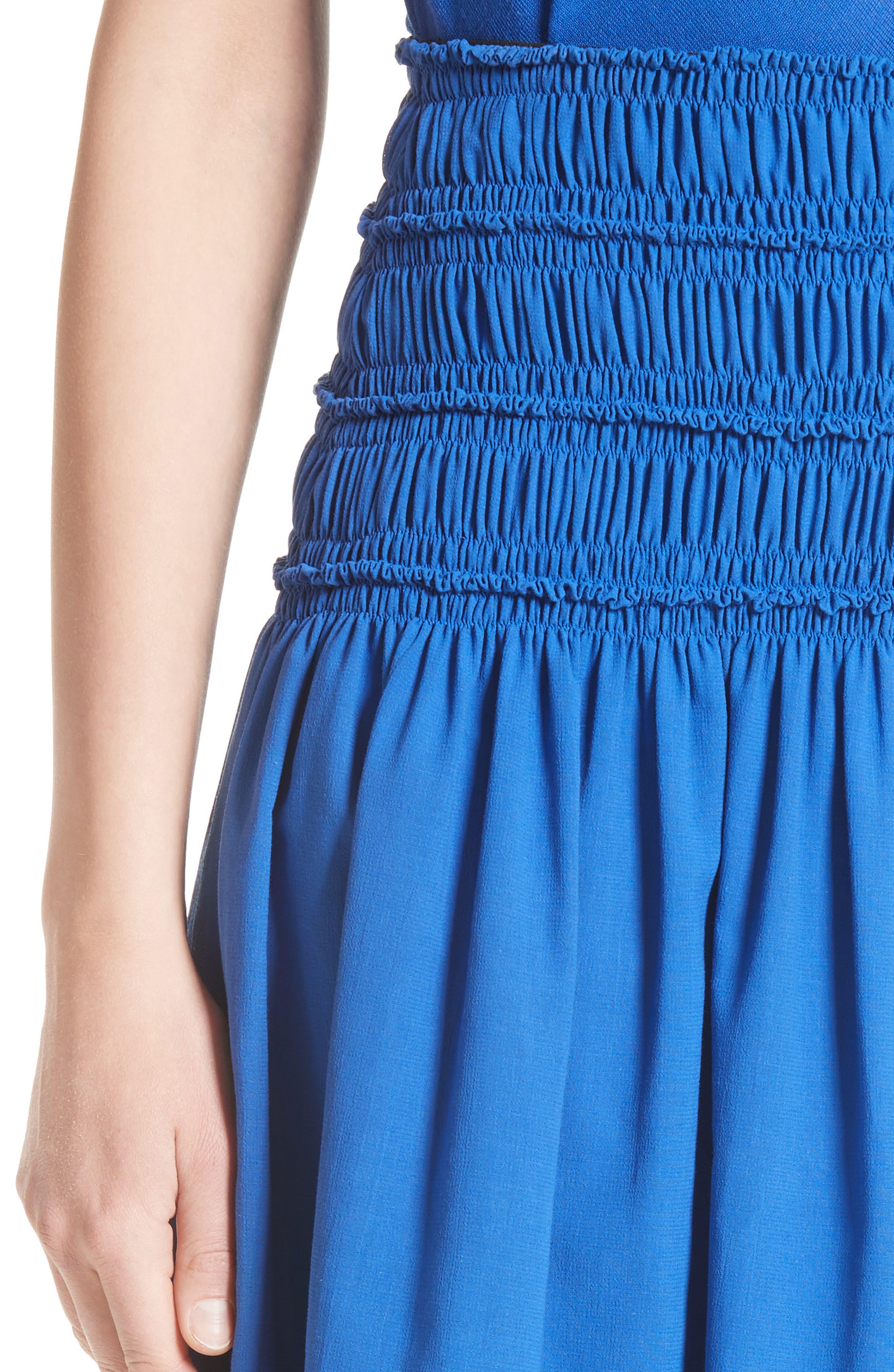 Akris Smocked Ruffle Skirt,                             Alternate thumbnail 6, color,                             Blue