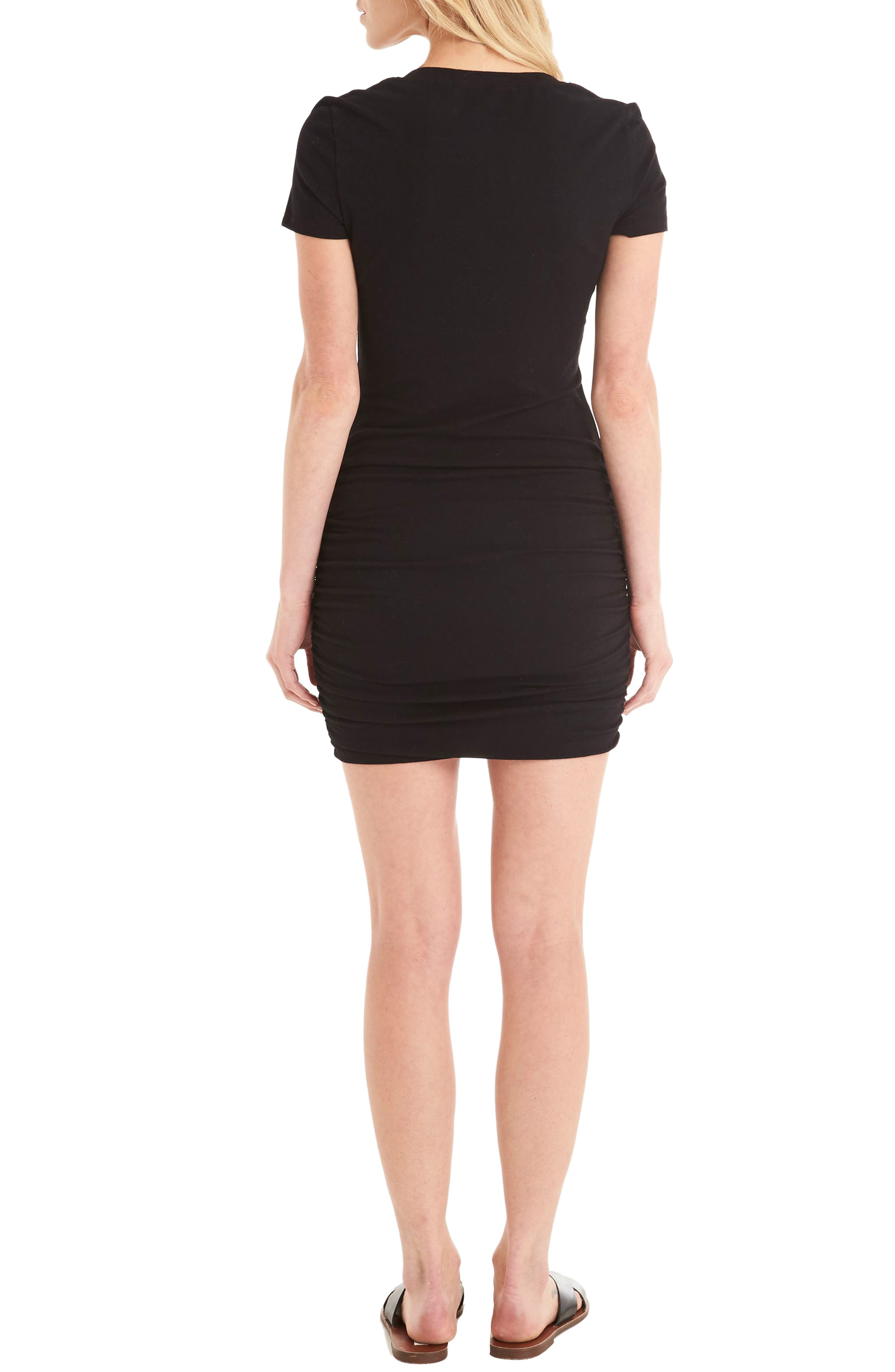 Ruched V-Neck Jersey Minidress,                             Alternate thumbnail 2, color,                             Black