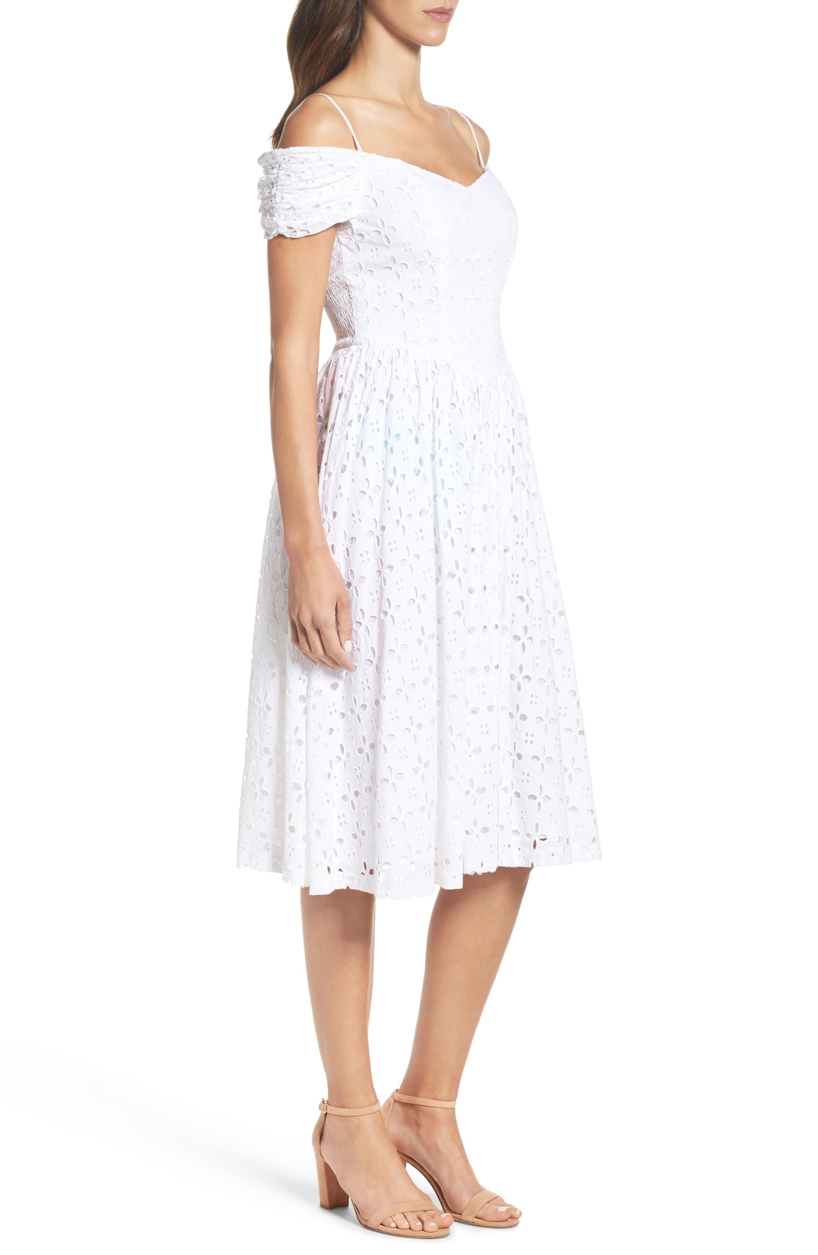 Off the Shoulder Midi Dress,                             Alternate thumbnail 3, color,                             White