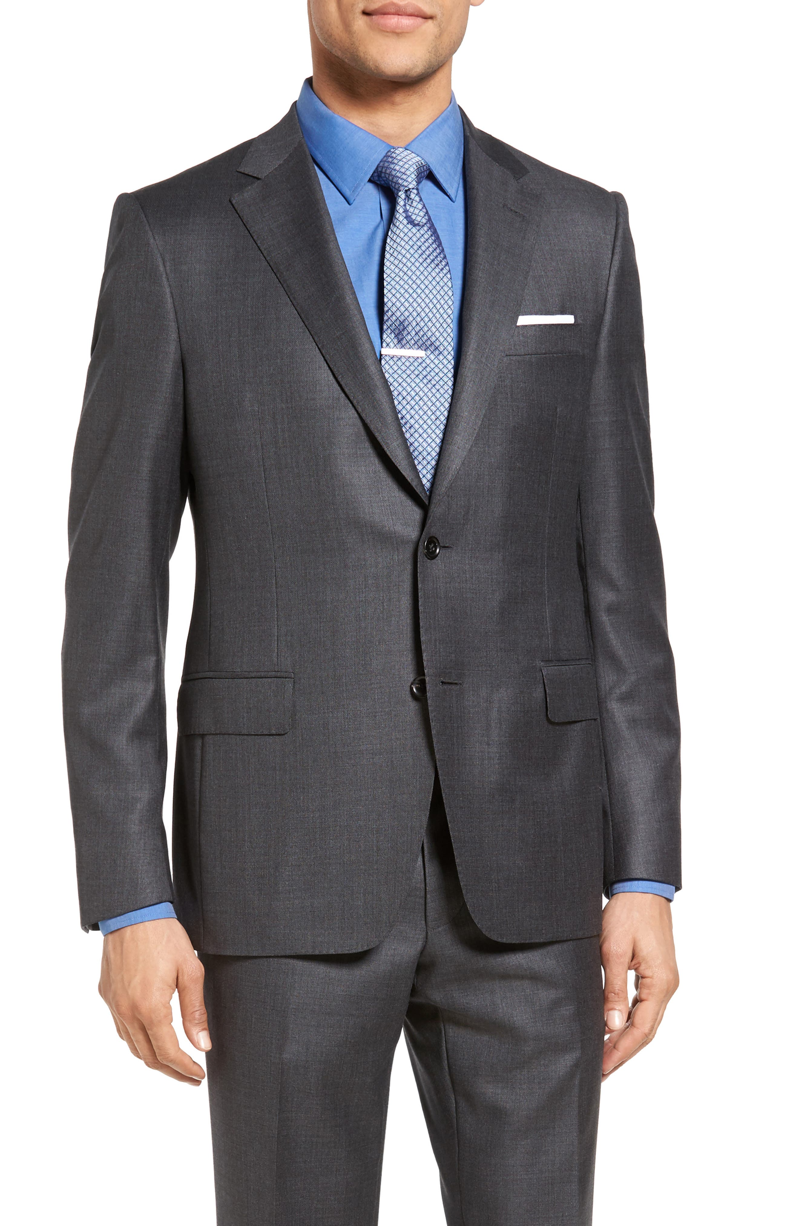 Beckett Classic Fit Sharkskin Wool Suit,                             Main thumbnail 1, color,                             Charcoal