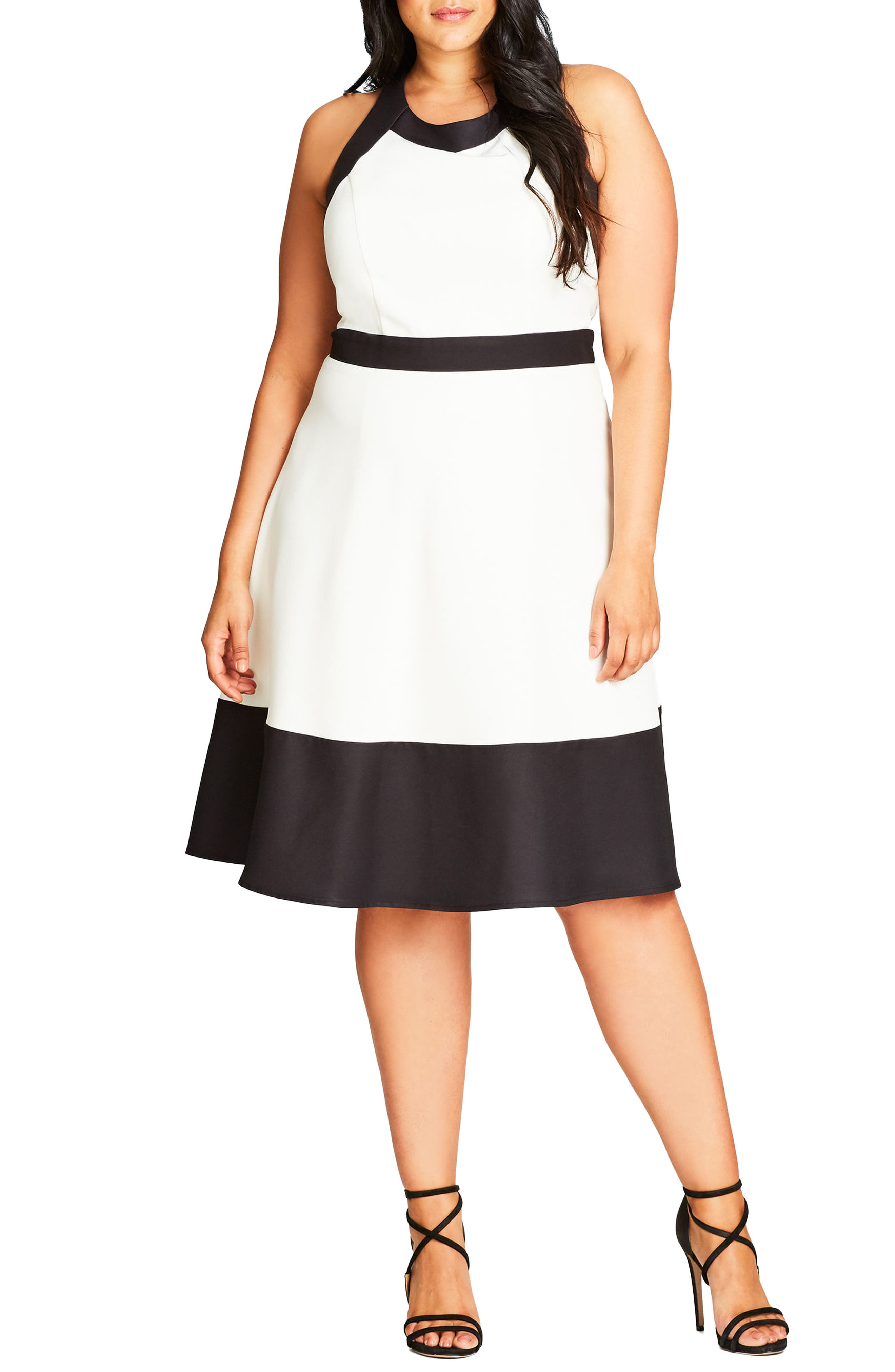 Fit & Flare Dress,                         Main,                         color, Ivory