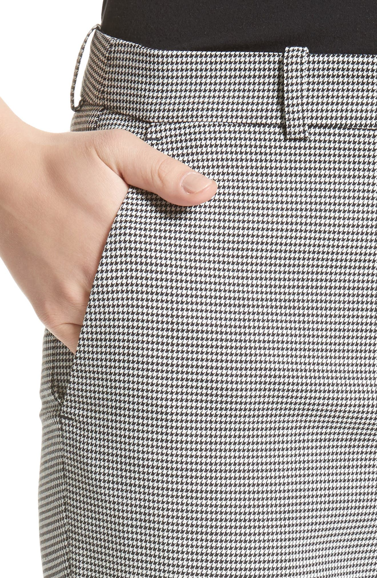 Samantha Houndstooth Pants,                             Alternate thumbnail 7, color,                             Black/ White