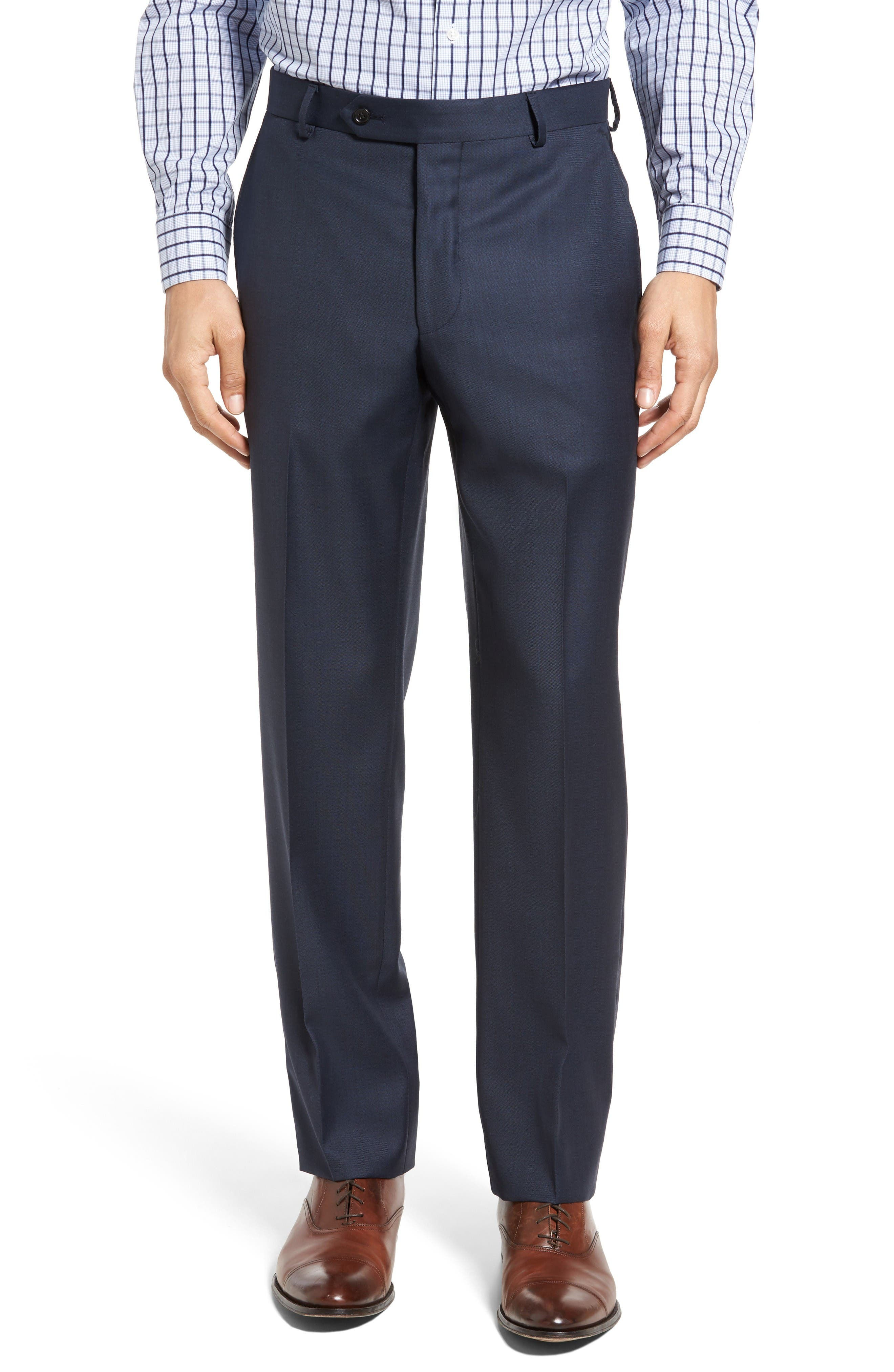 Classic Fit Sharkskin Wool Suit,                             Alternate thumbnail 6, color,                             Navy