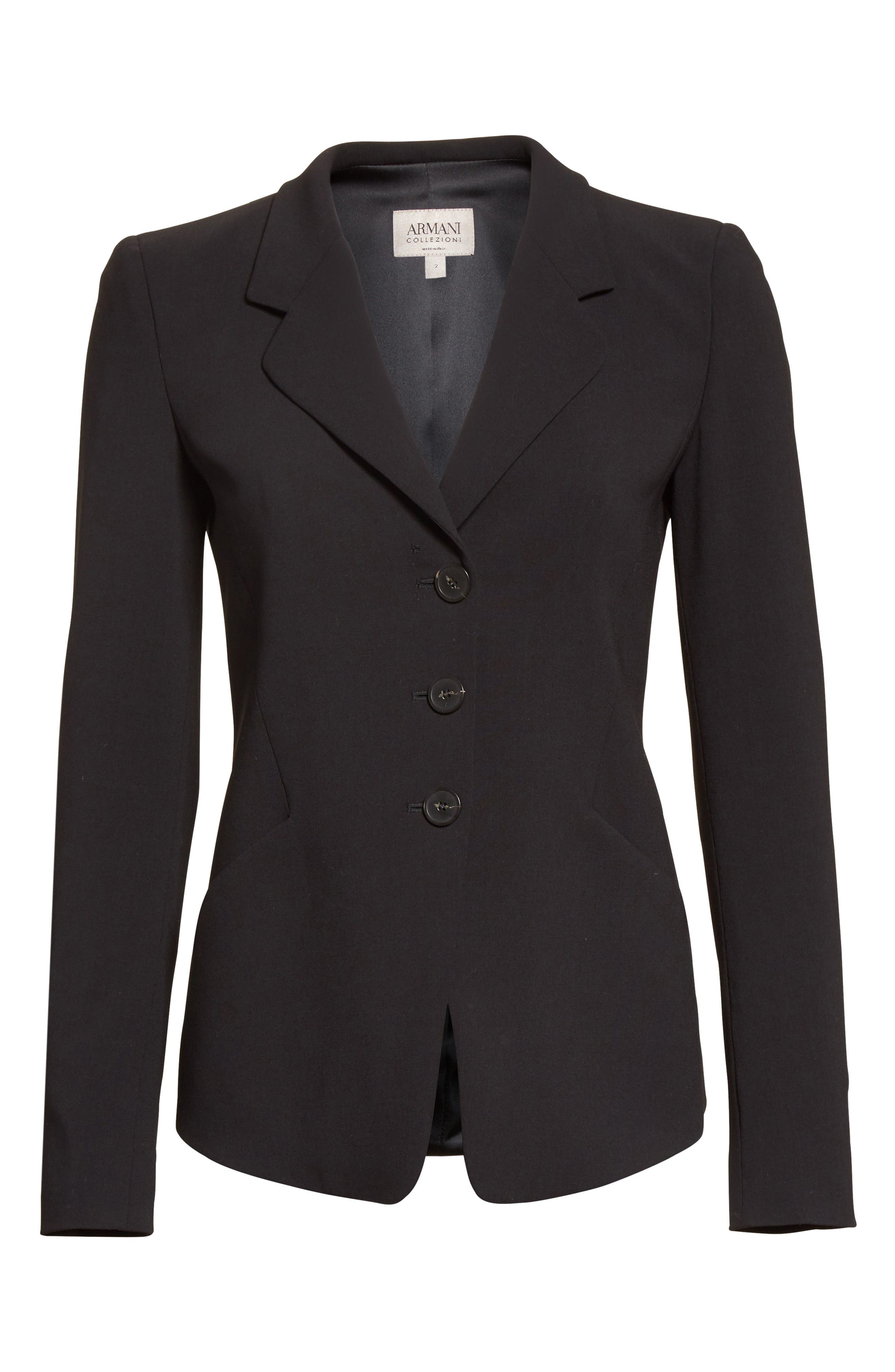 Stretch Wool Jacket,                             Alternate thumbnail 4, color,                             Black