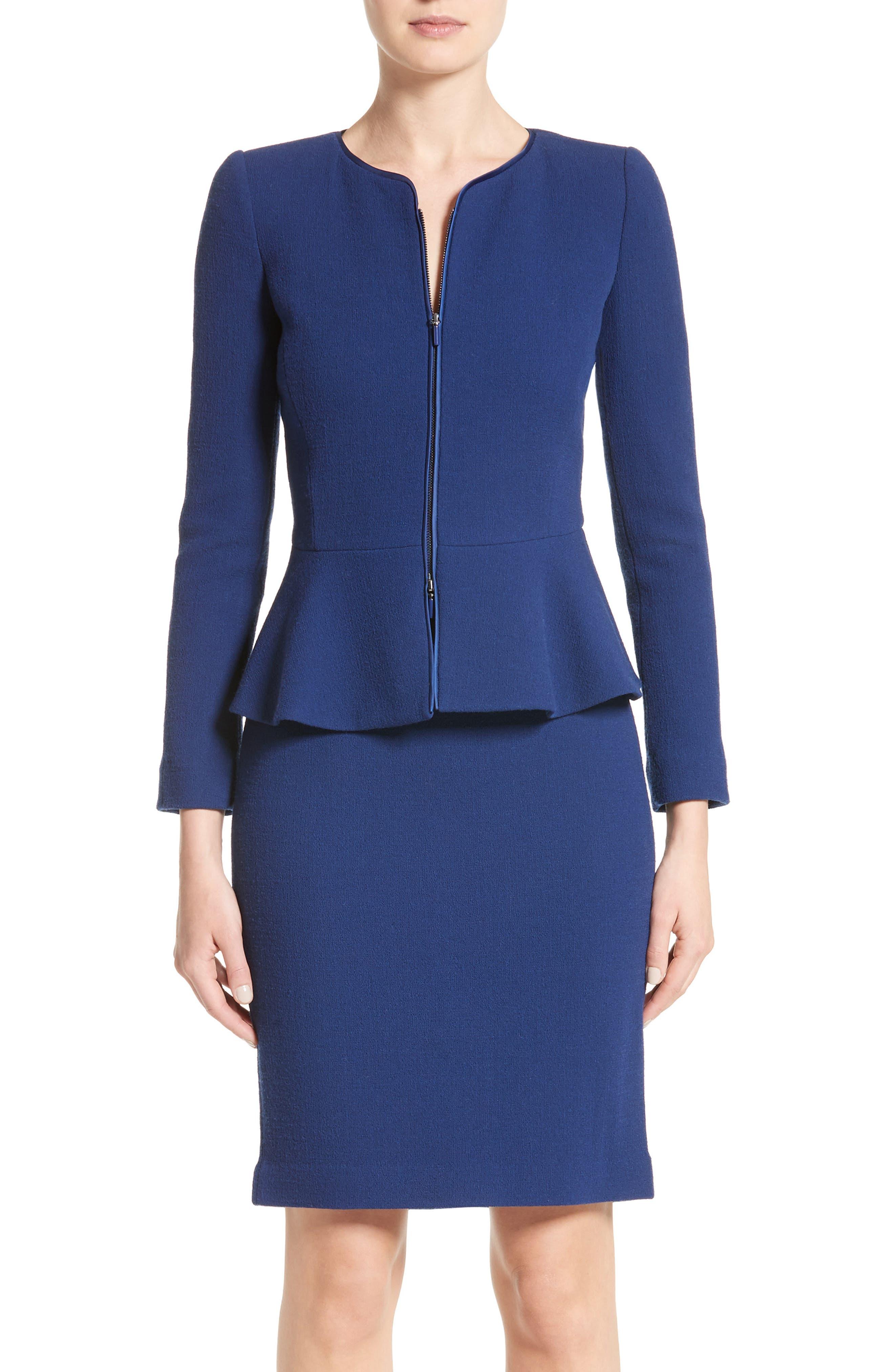 Double Crepe Peplum Jacket,                         Main,                         color, Royal Blue