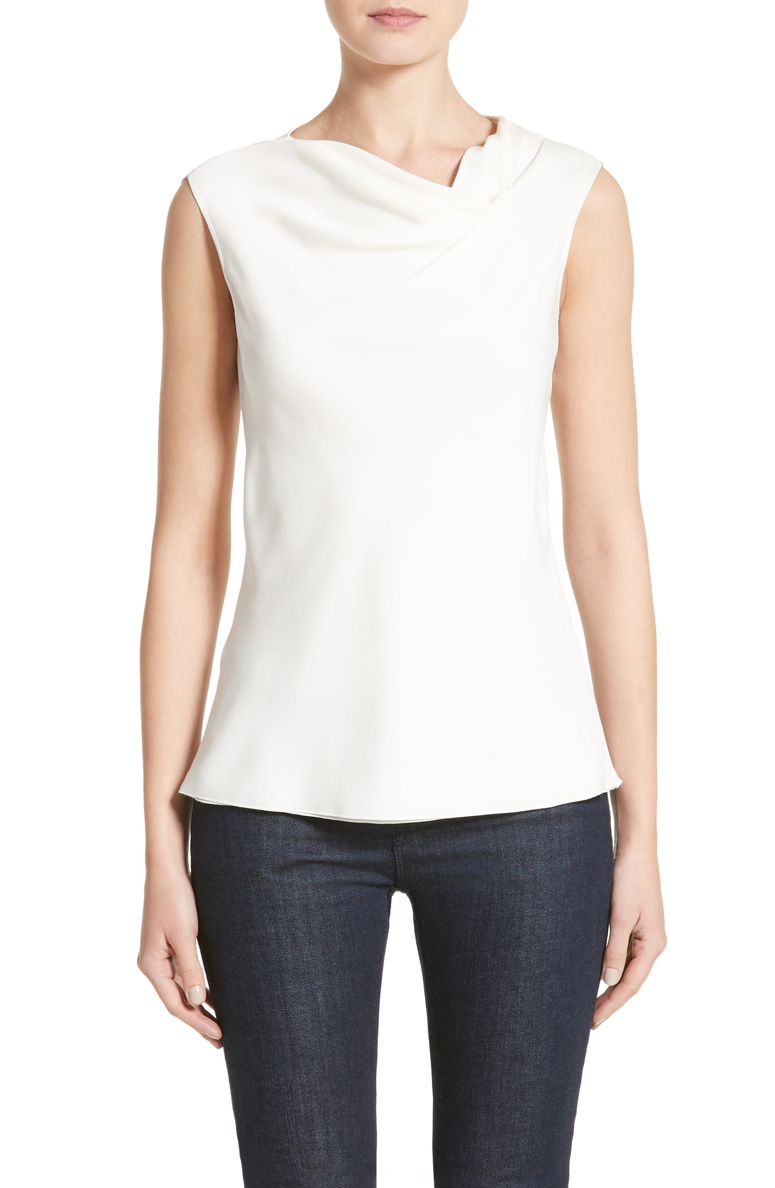 Cowl Neck Stretch Silk Charmeuse Top,                         Main,                         color, Off White
