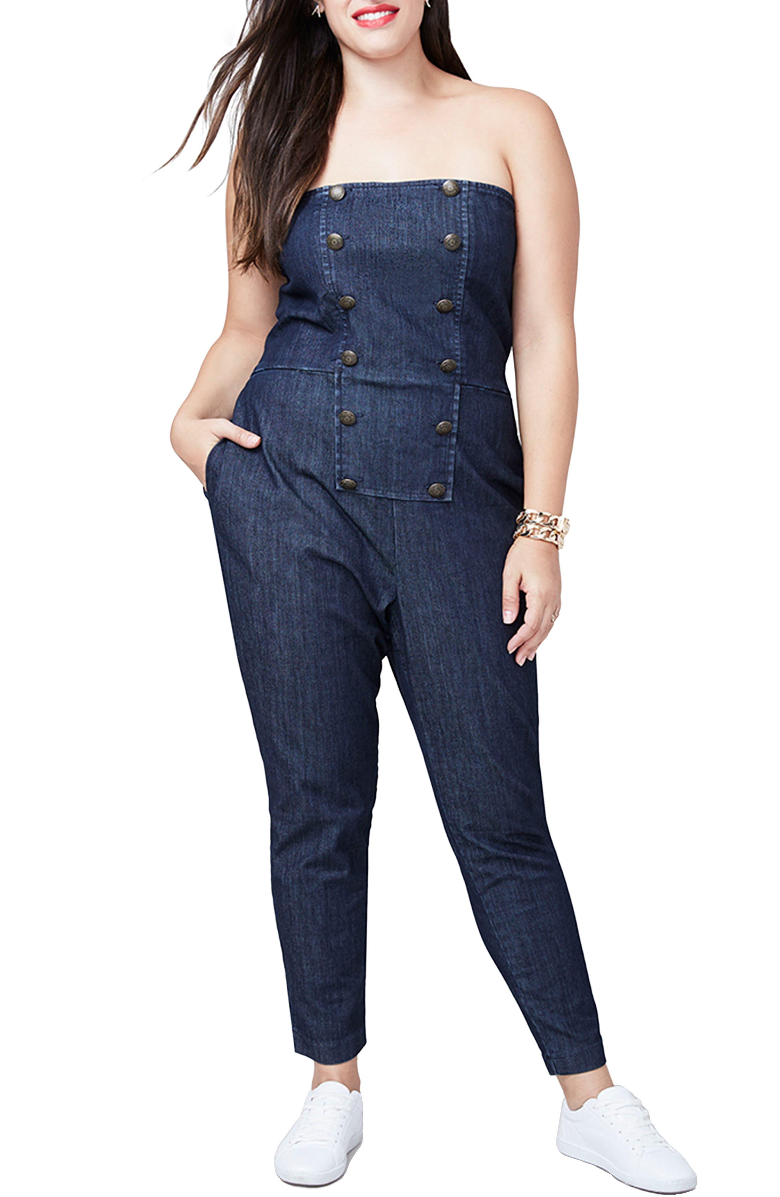 Main Image - RACHEL Rachel Roy Strapless Denim Jumpsuit (Plus Size)