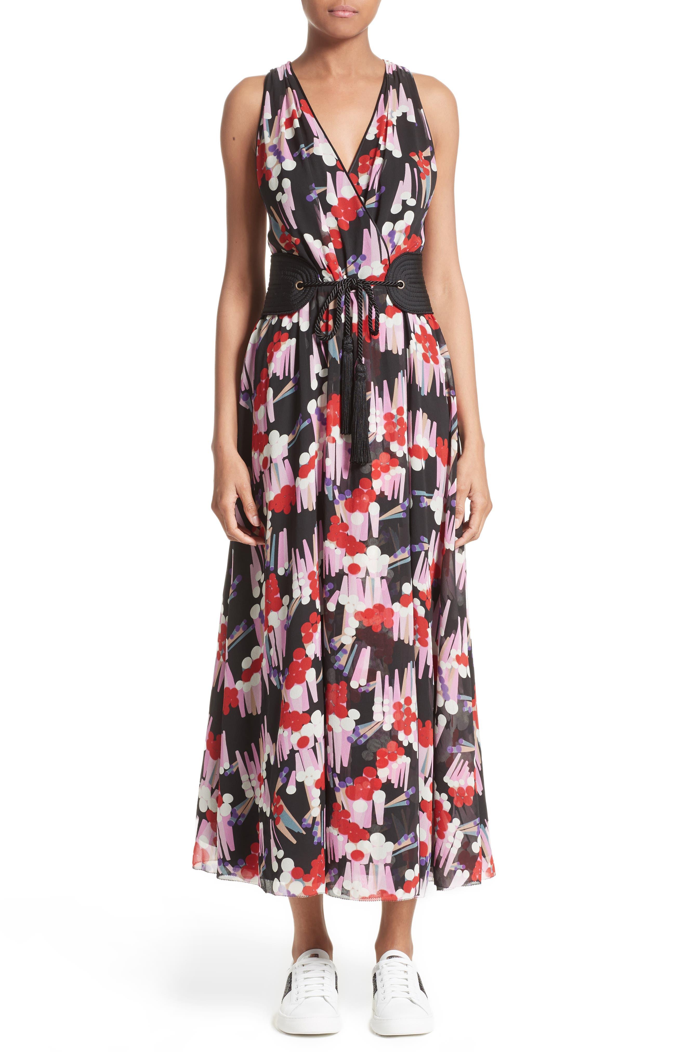 Print Silk Midi Dress,                             Main thumbnail 1, color,                             Black Multi
