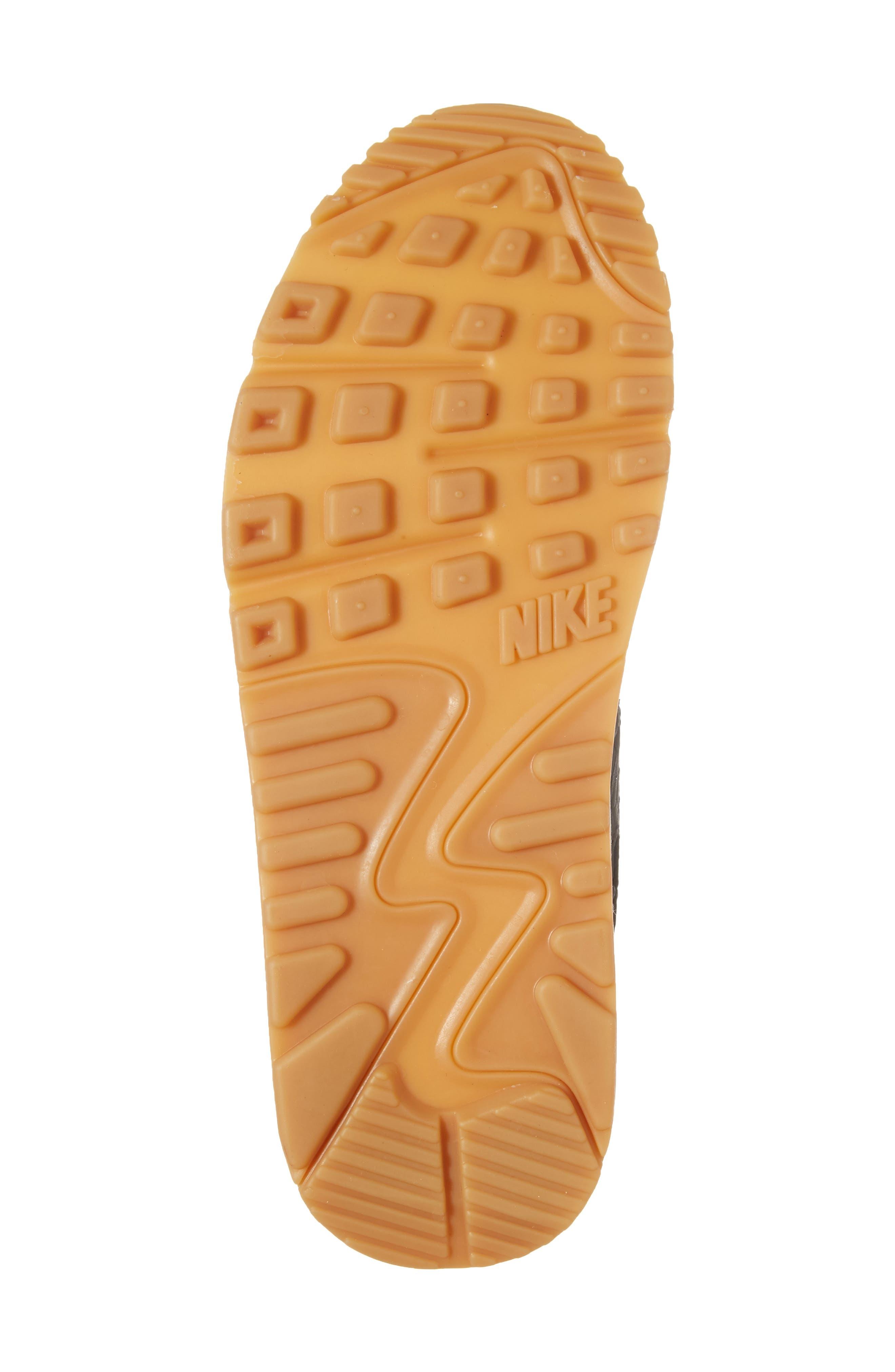 Air Max 90 Premium Leather Sneaker,                             Alternate thumbnail 6, color,                             Black/ Dark Grey/ Ivory