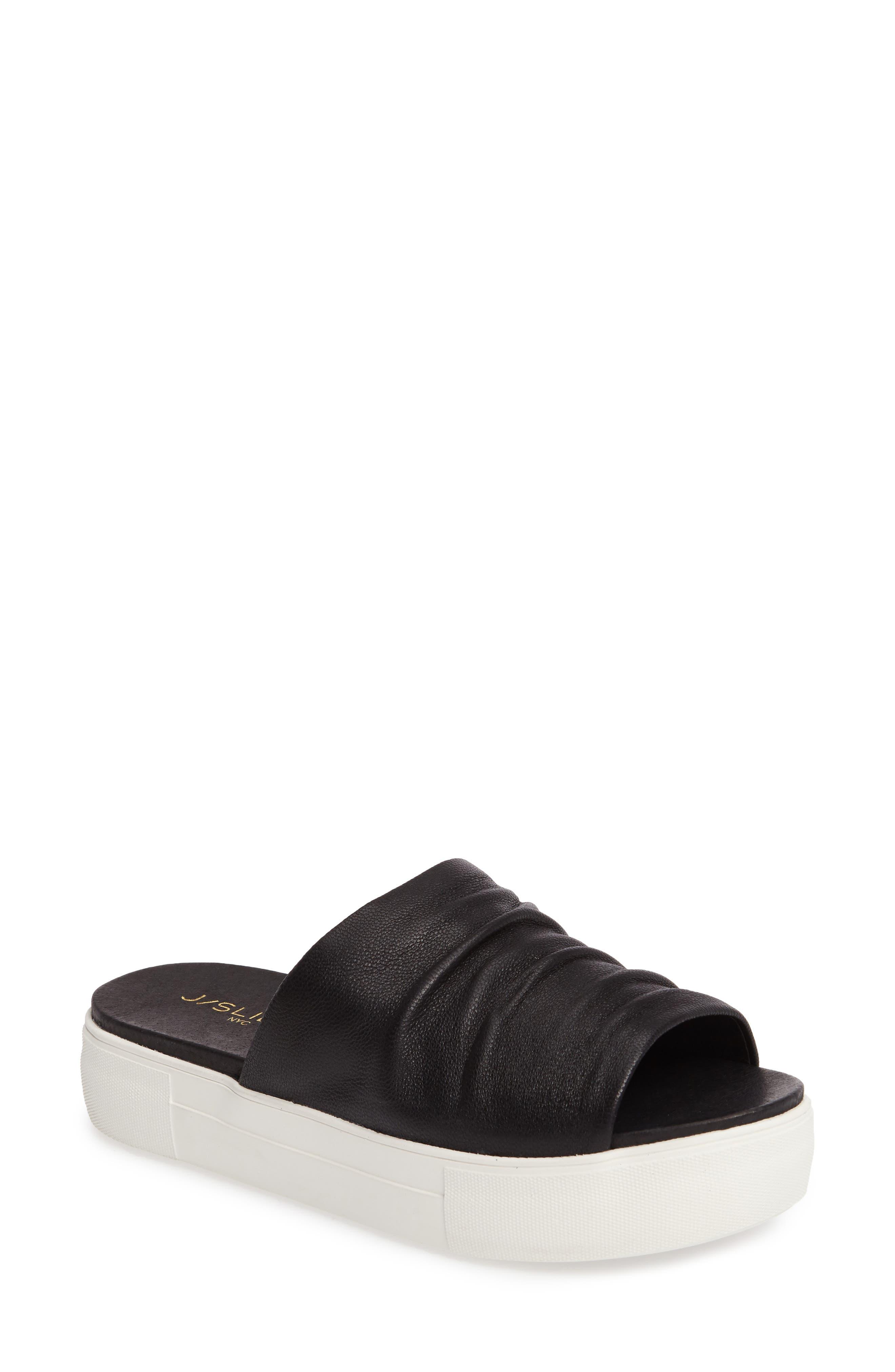 Alura Platform Slide Sandal,                             Main thumbnail 1, color,                             Black Leather