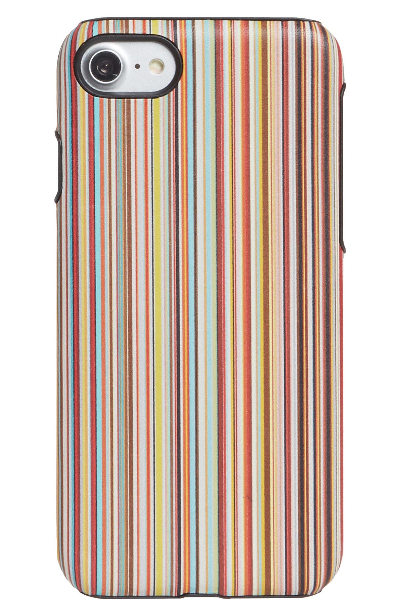 PAUL SMITH Multistripe Leather iPhone 7 Case