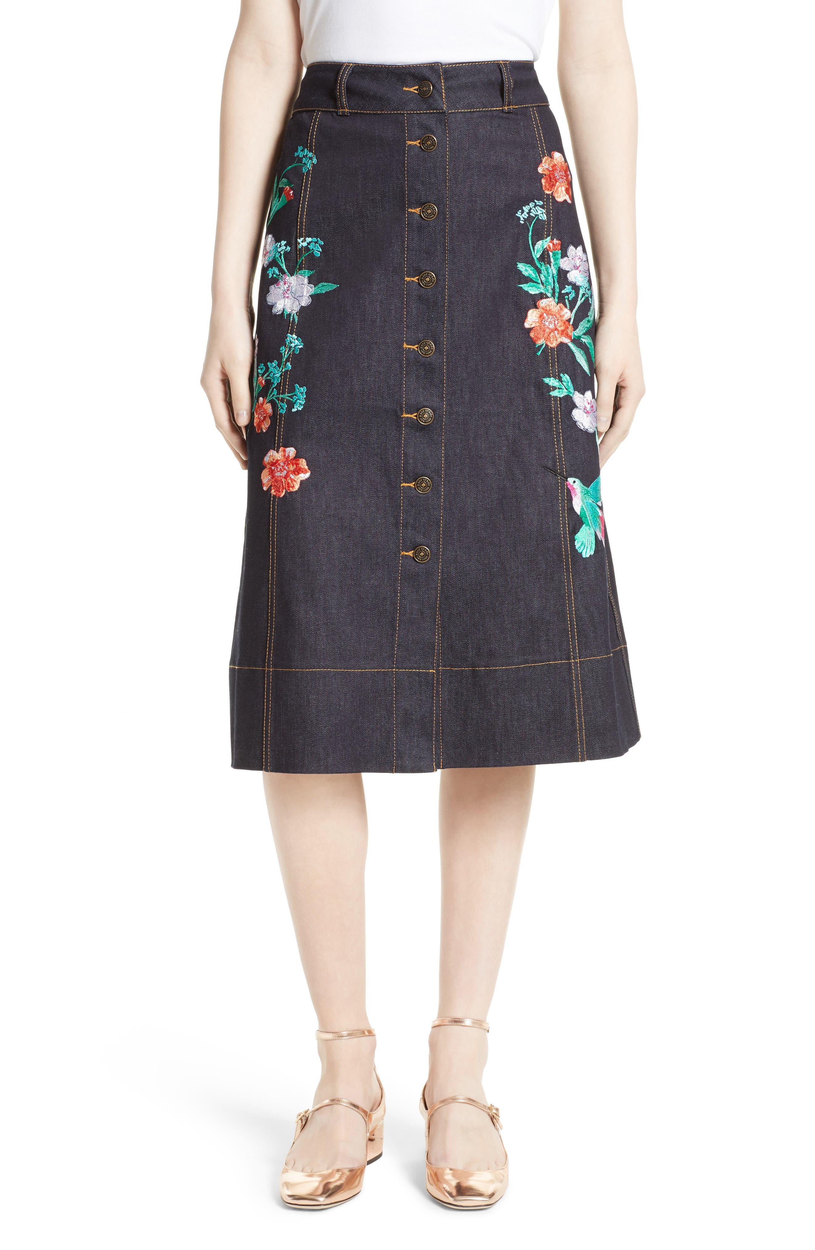 kate spade new york embroidered denim skirt