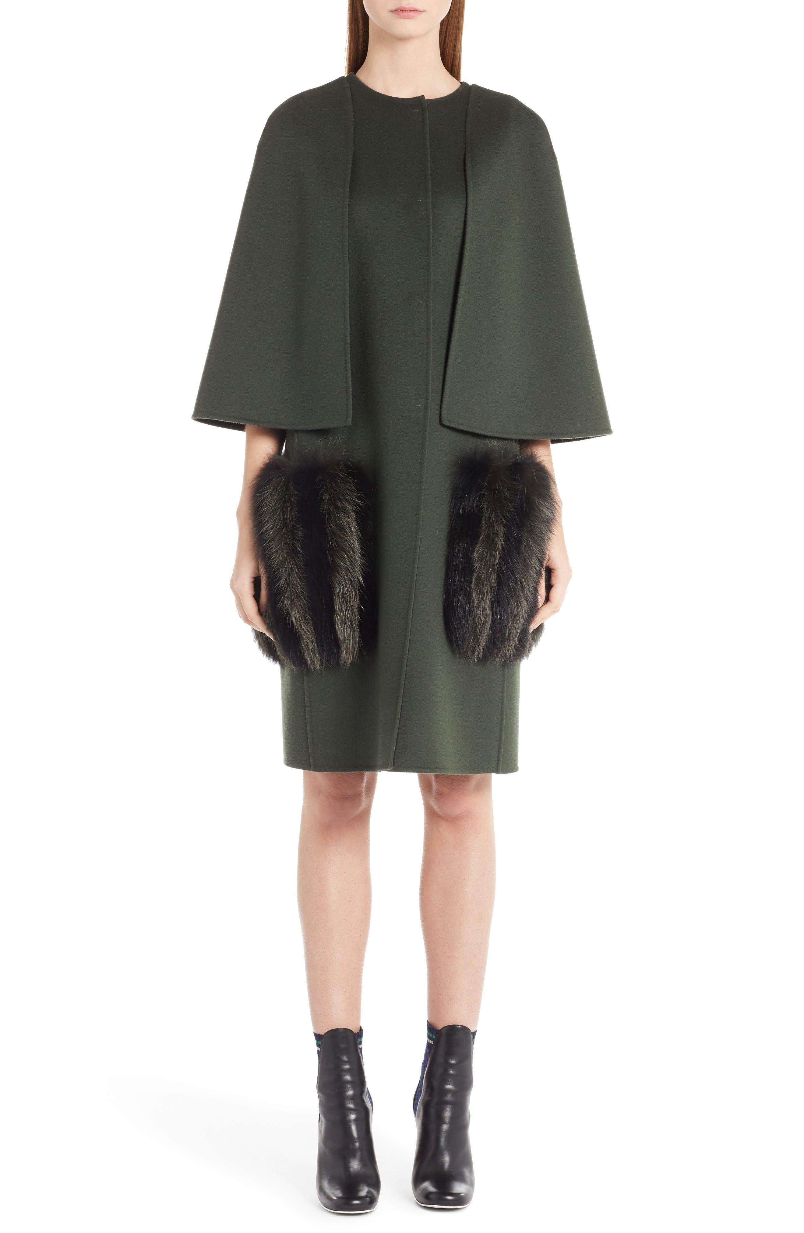 Main Image - Fendi Wool Cape Coat with Genuine Fox Fur Pockets