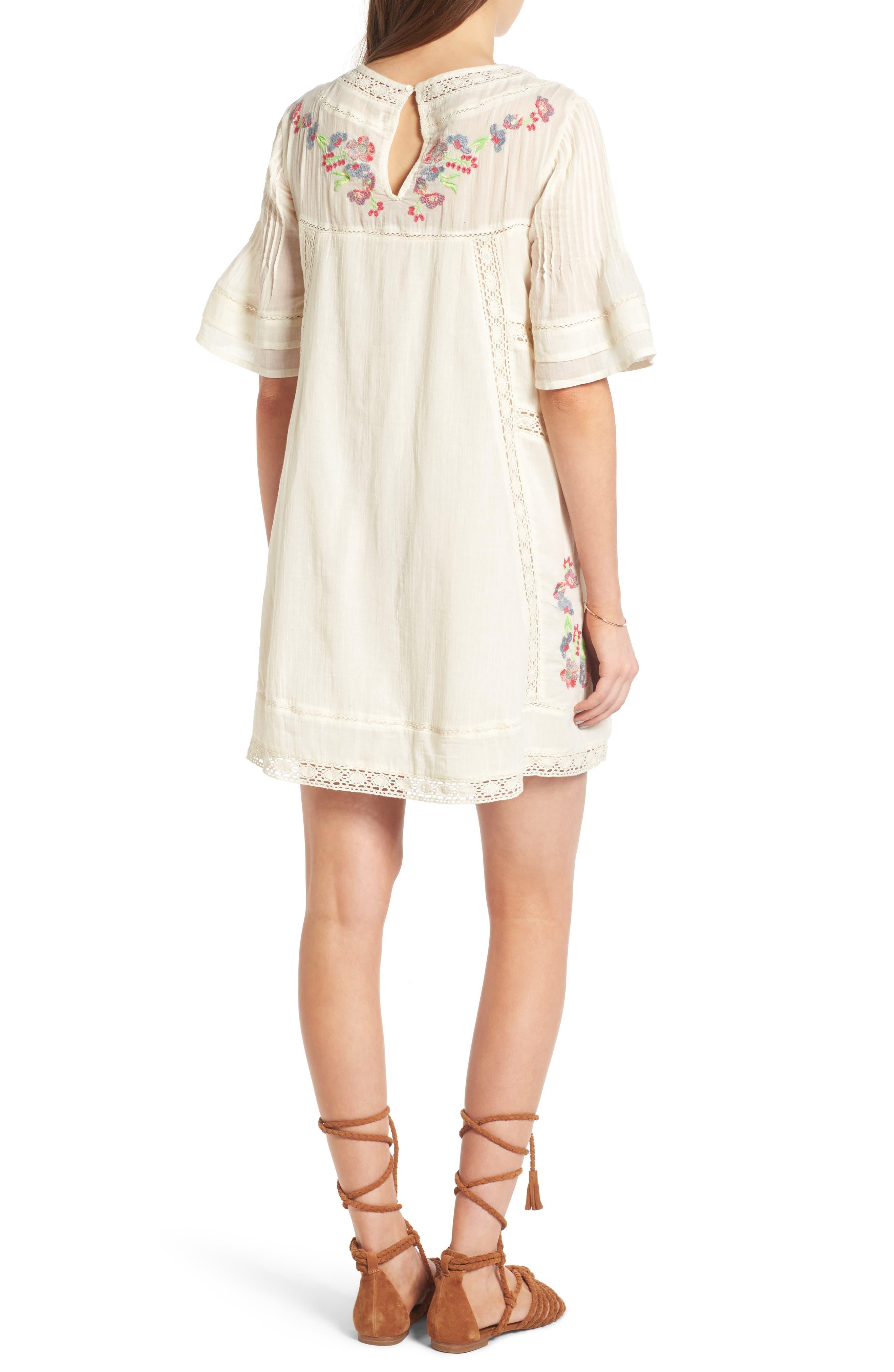 'Perfectly Victorian' Minidress,                             Alternate thumbnail 2, color,                             White