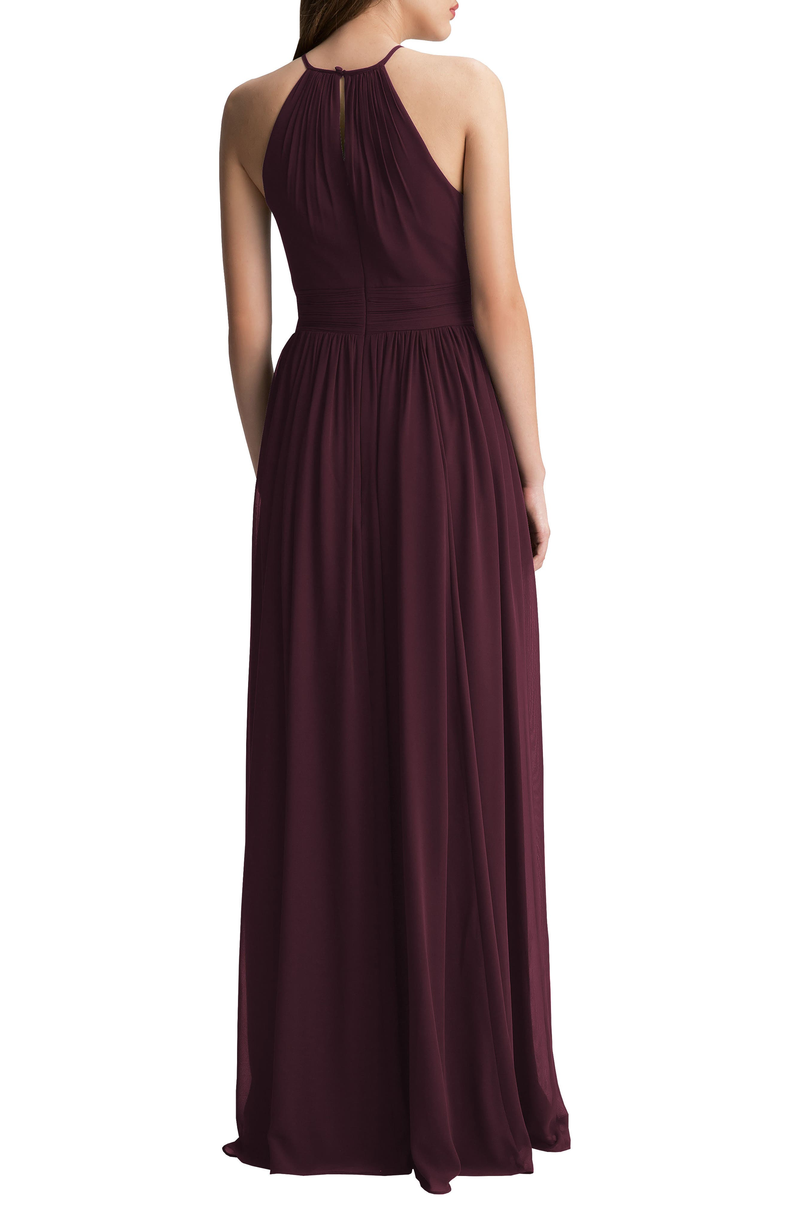 Alternate Image 2  - #Levkoff Keyhole Chiffon A-Line Gown