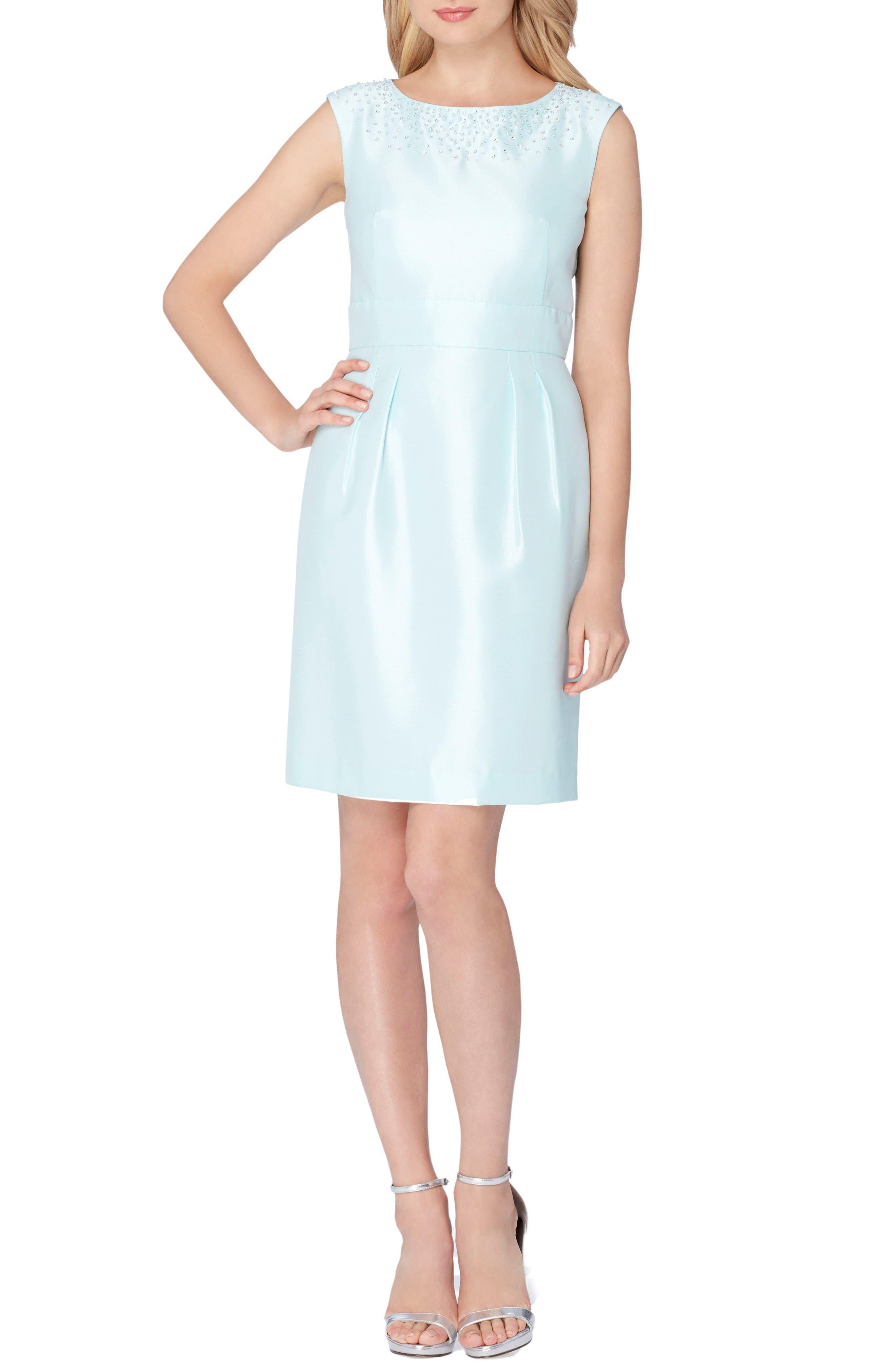 TAHARI Embellished Shantung Dress