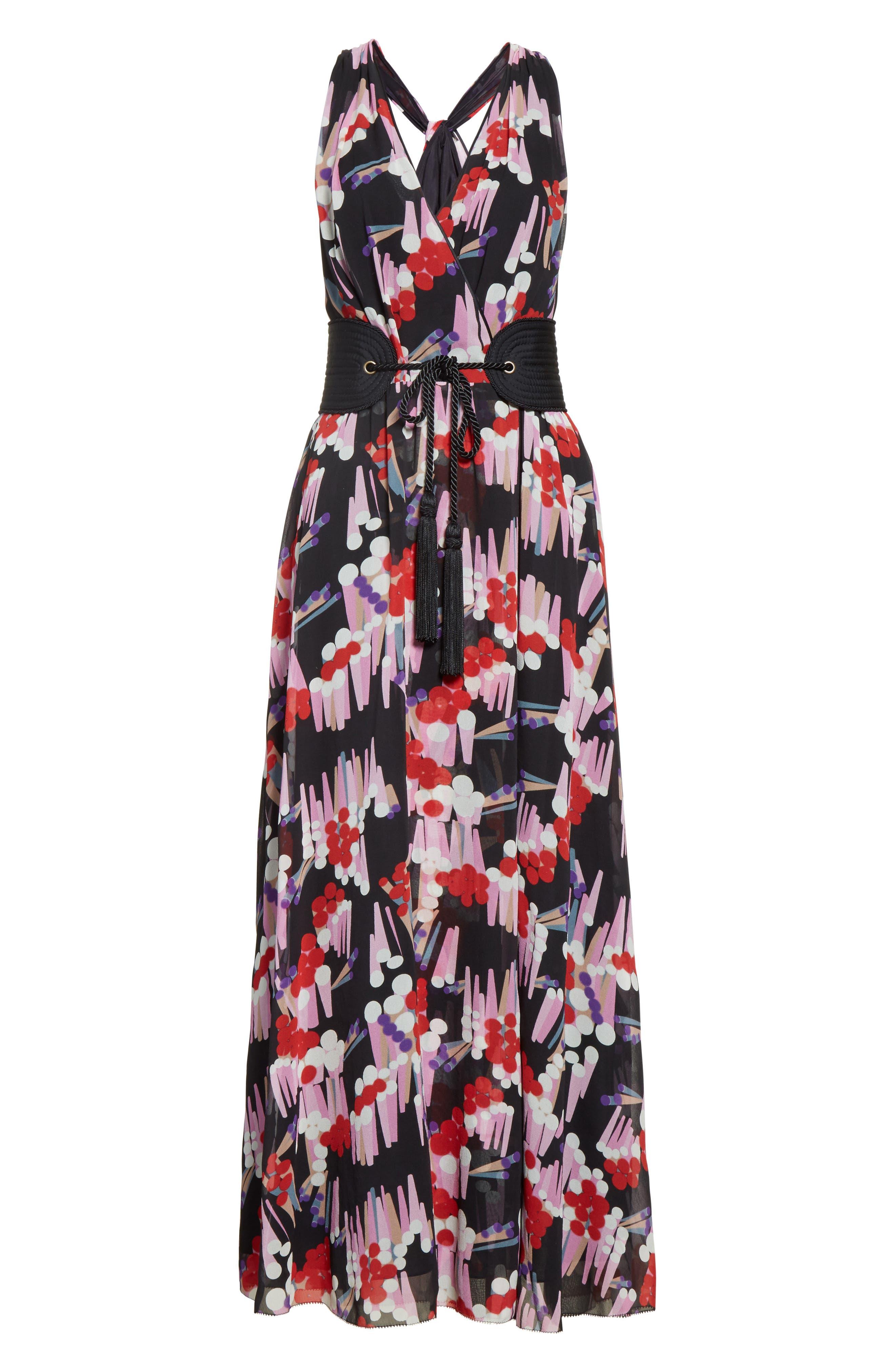 Print Silk Midi Dress,                             Alternate thumbnail 4, color,                             Black Multi