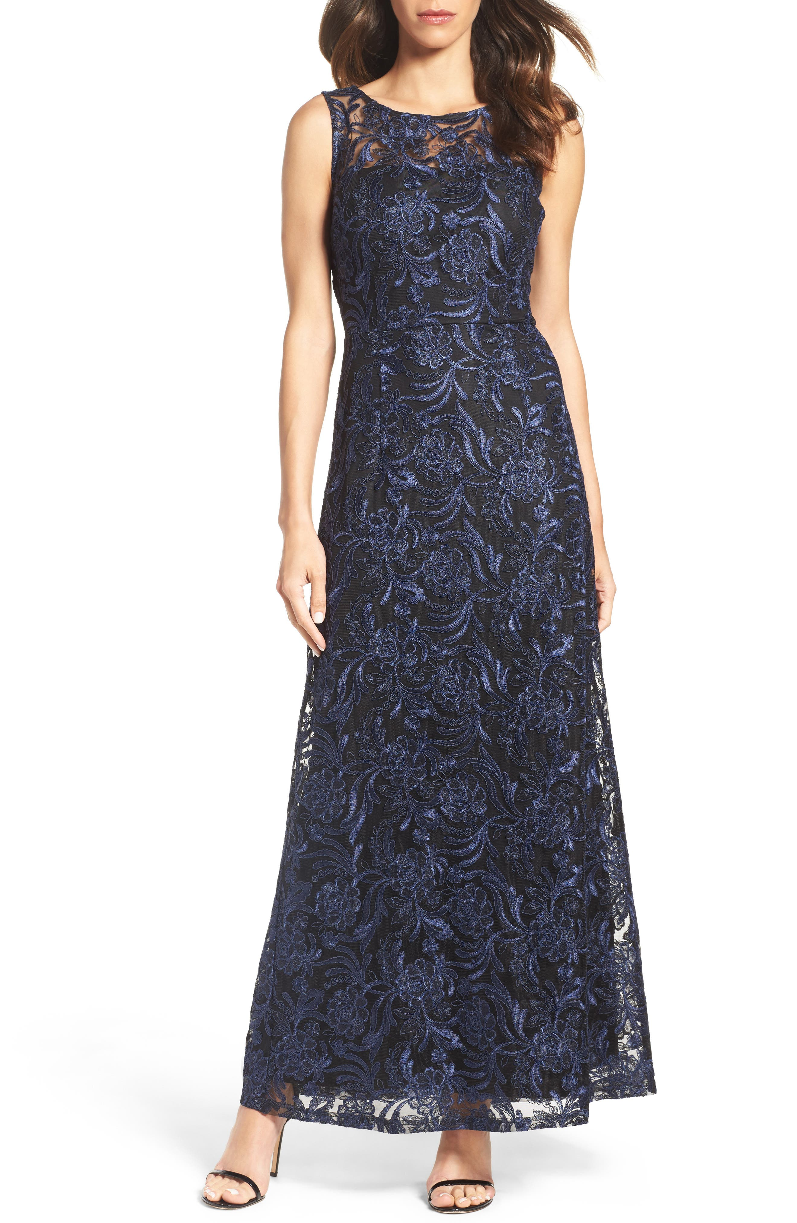 Corded Mesh Gown,                         Main,                         color, Navy