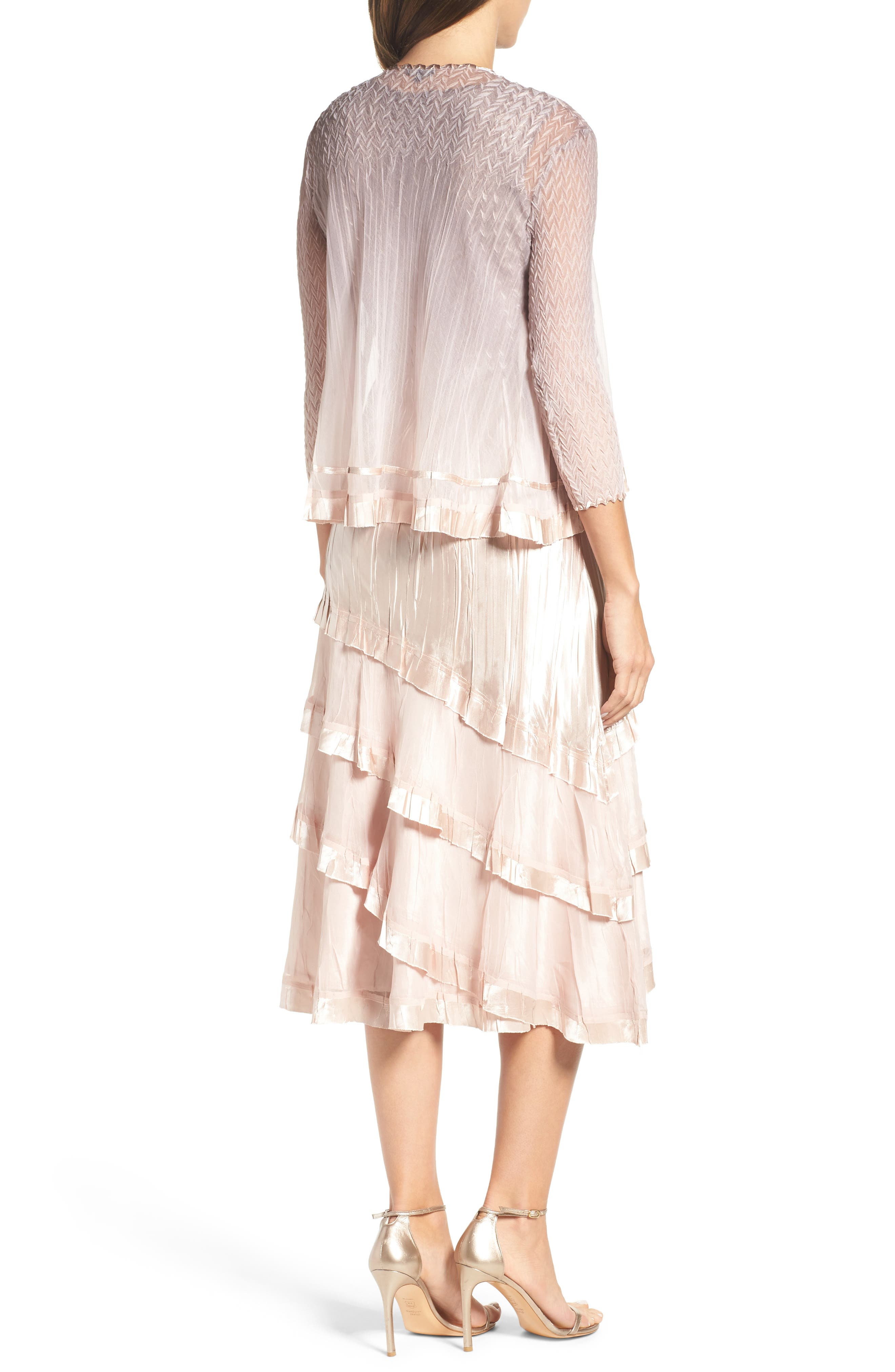 Tiered Dress with Jacket,                             Alternate thumbnail 2, color,                             Vintage Rose Ombre