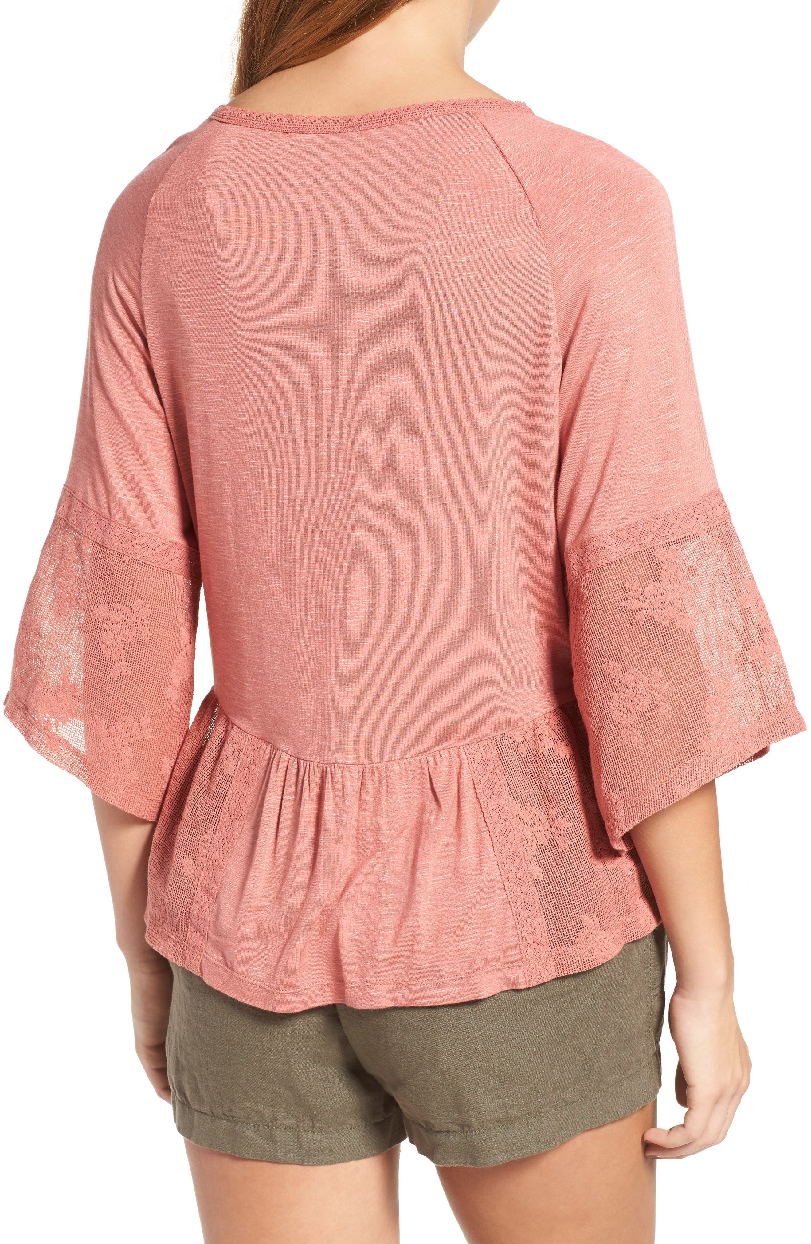 Alternate Image 2  - Wit & Wisdom Mixed Media Flounce Top (Nordstrom Exclusive)